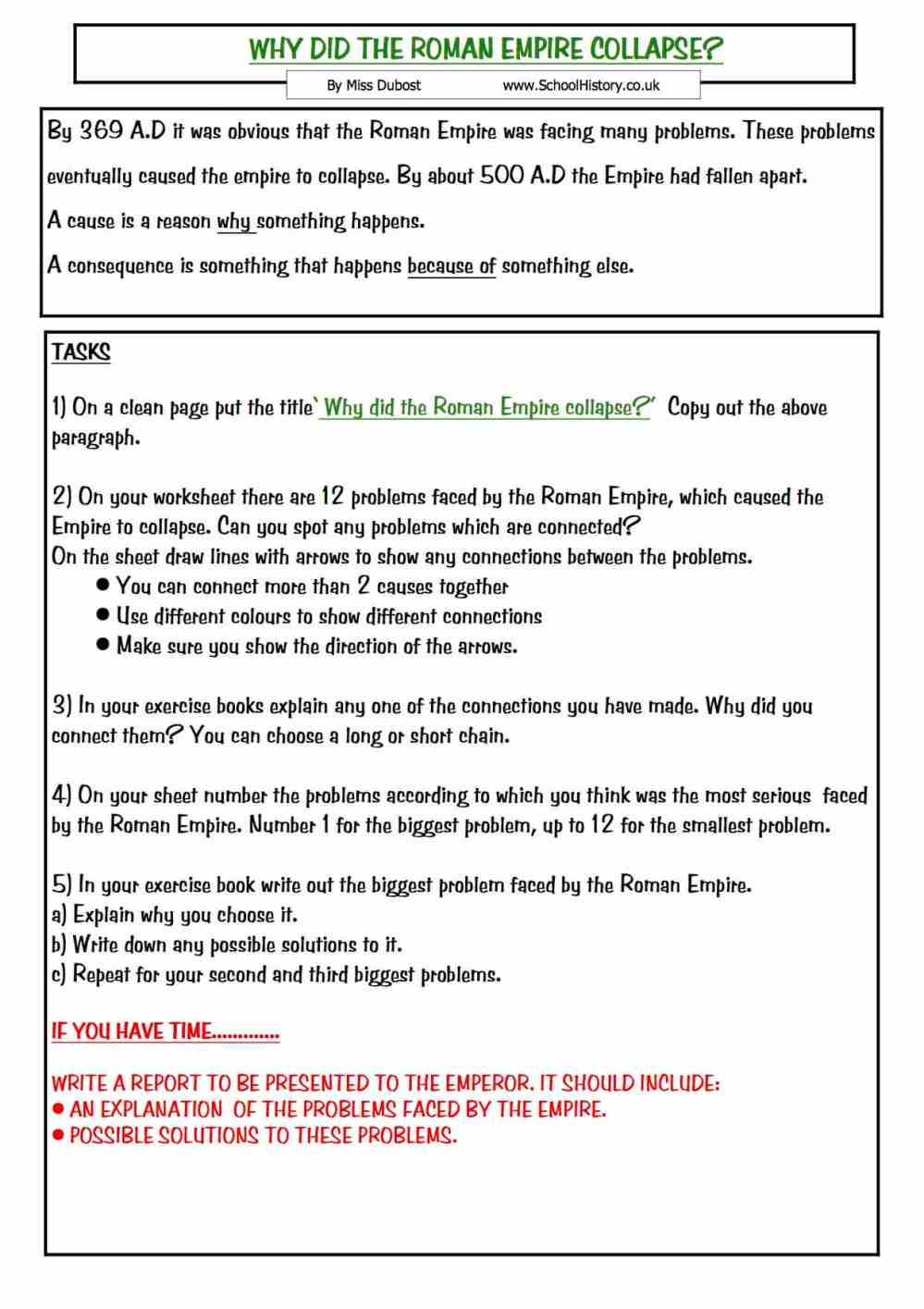 medium resolution of The Collapse of the Roman Empire   Year 7 Study Worksheet