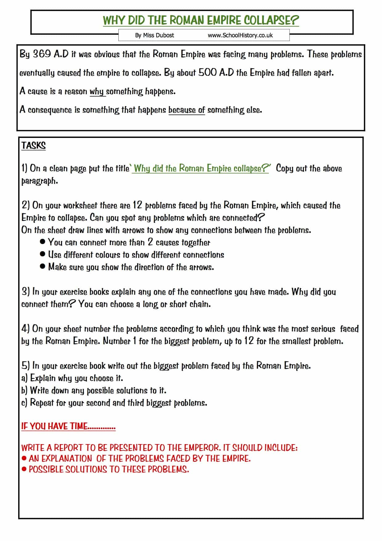 hight resolution of The Collapse of the Roman Empire   Year 7 Study Worksheet
