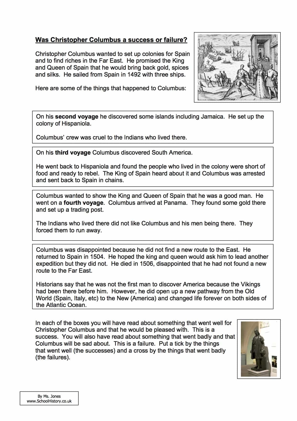 hight resolution of Was Christopher Columbus a Success or Failure Worksheet - Year 8/9