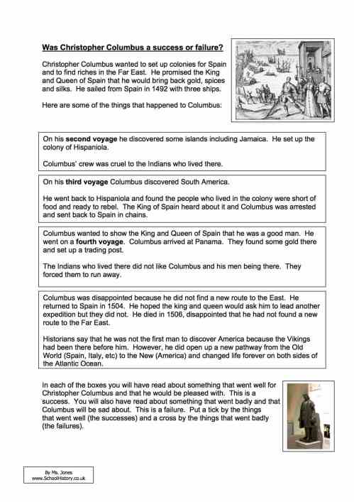 small resolution of Was Christopher Columbus a Success or Failure Worksheet - Year 8/9