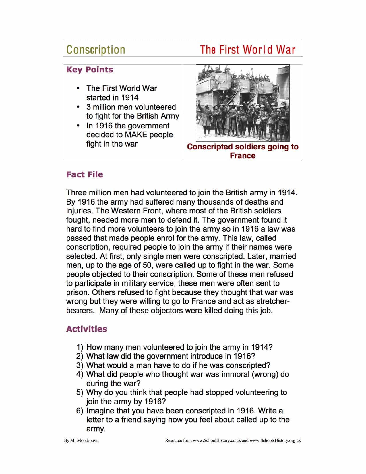 World War 1 Conscription Mid Ability Facts Worksheet