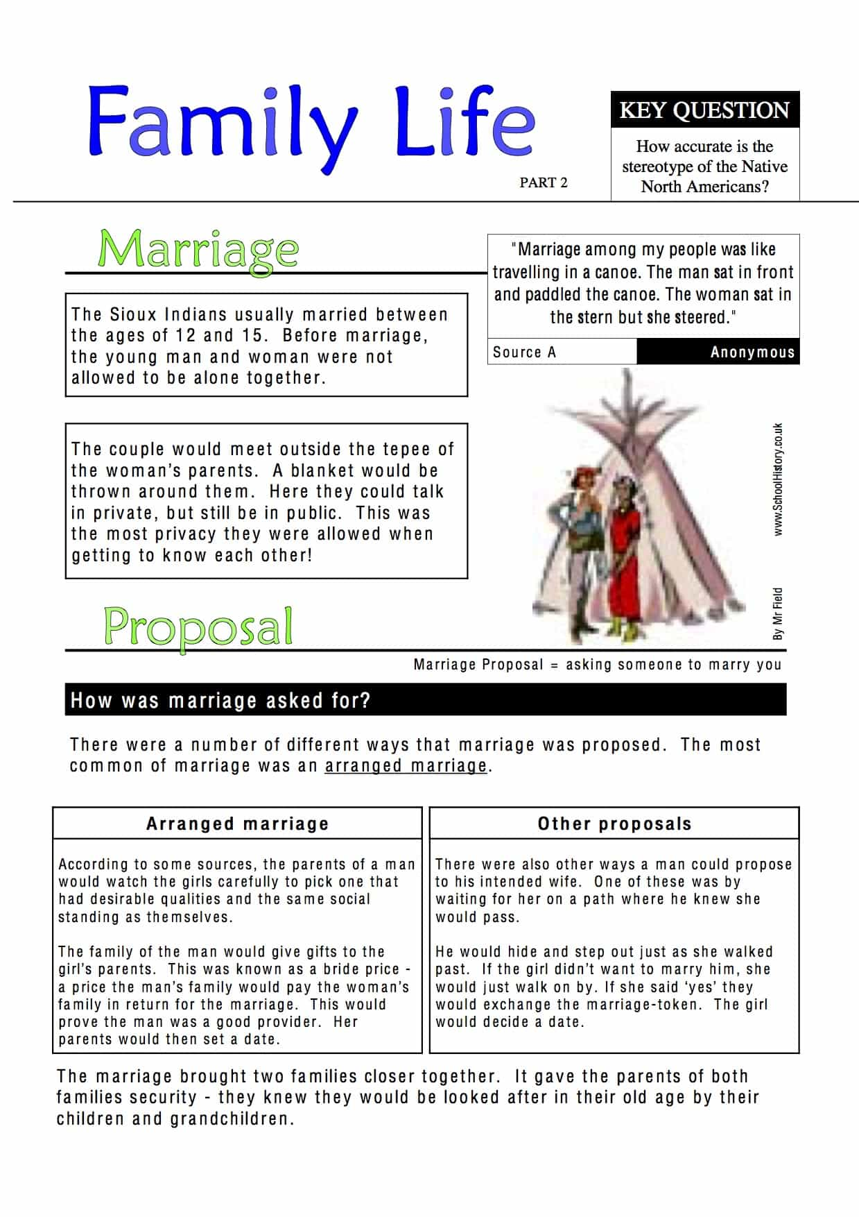 Native American Family Life Worksheet