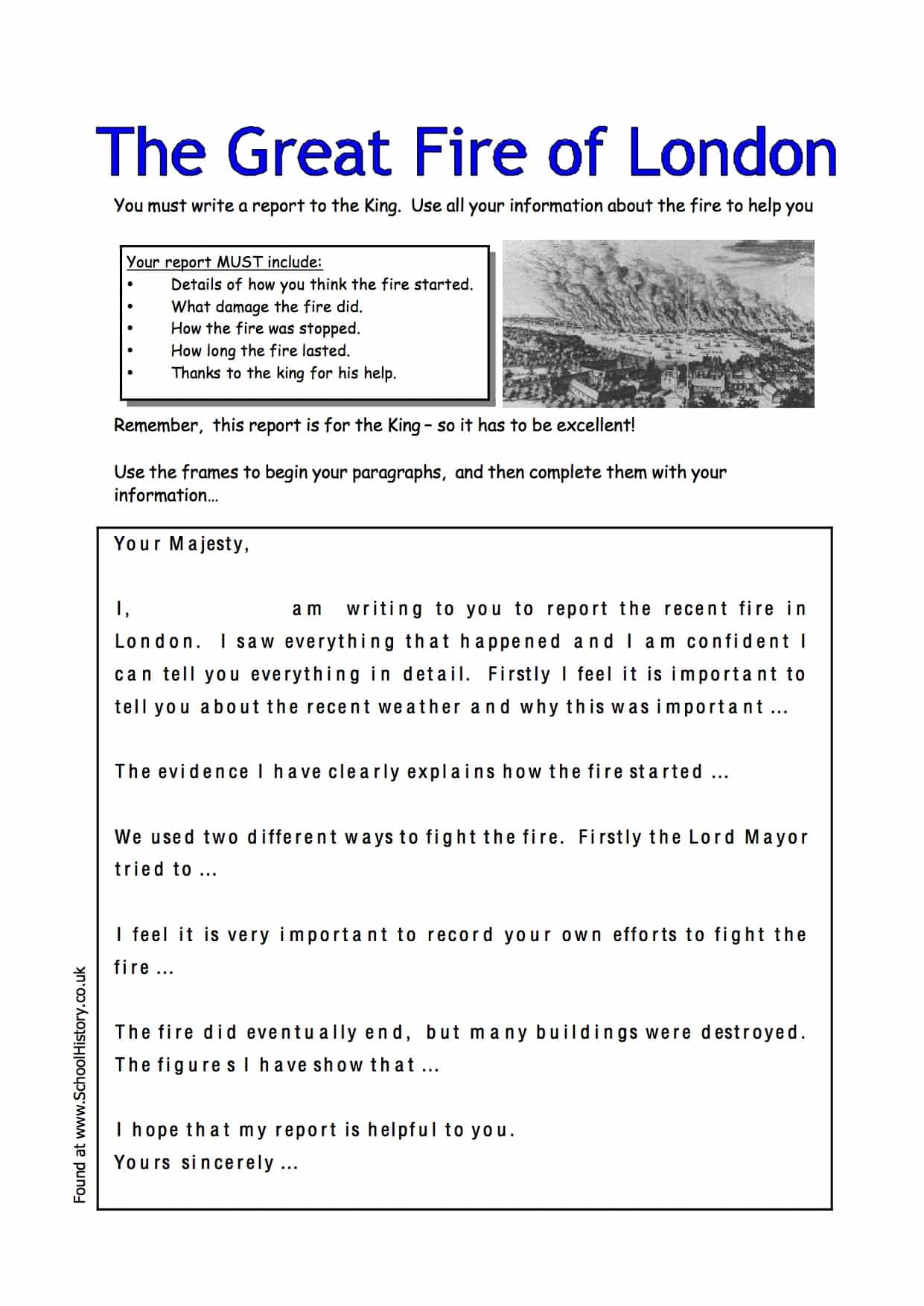 Great Fire Of London Writing Activity Worksheet