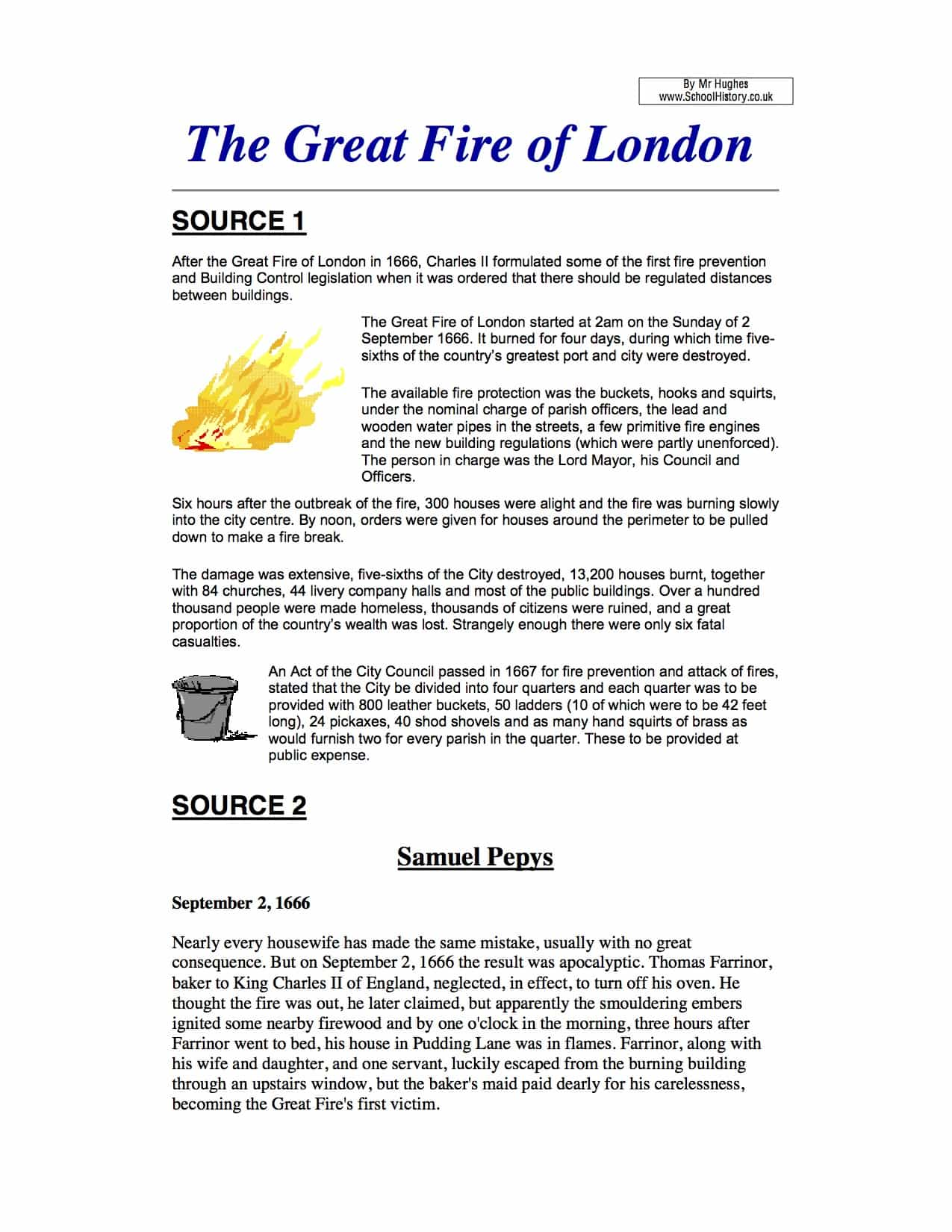The Great Fire Of London Task Sources Worksheet