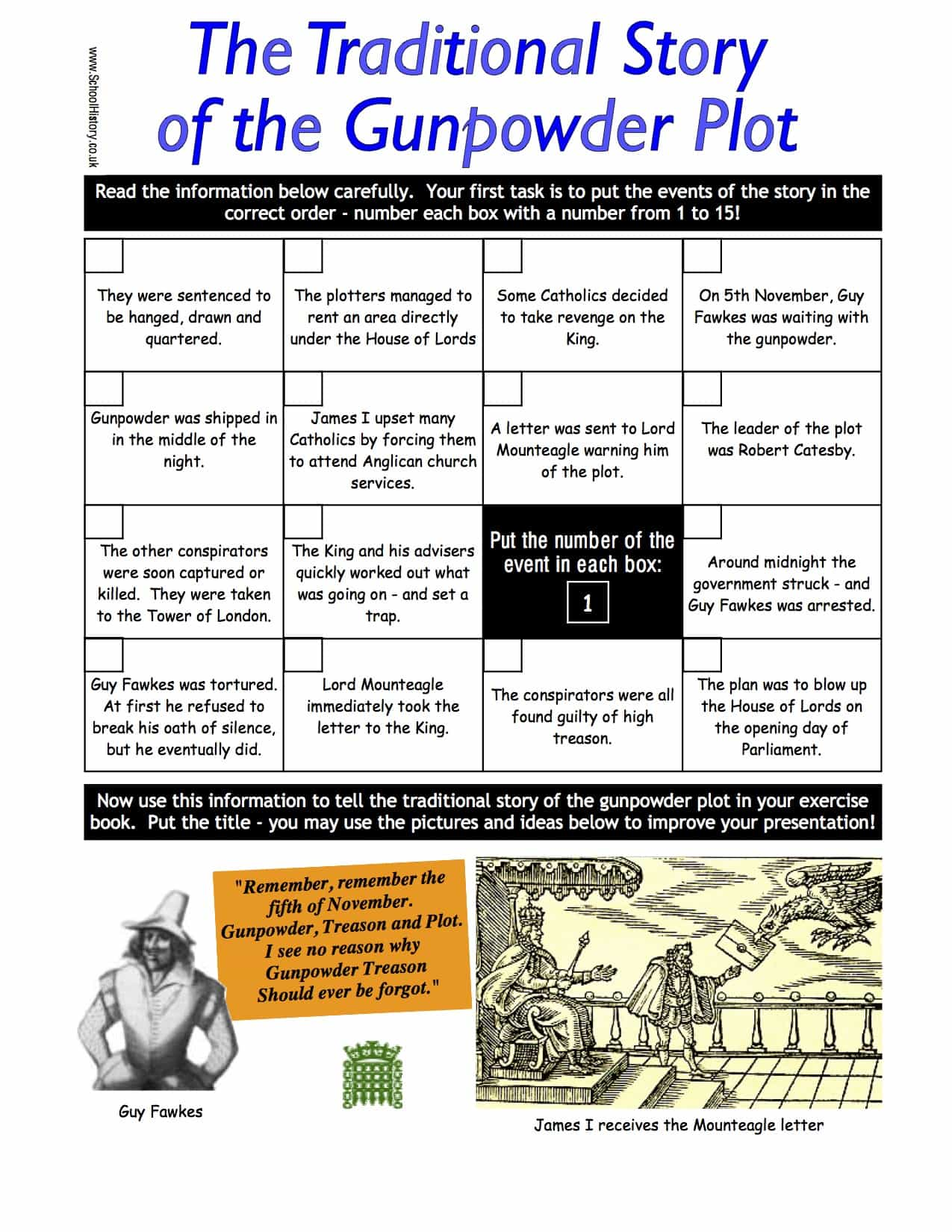 The Traditional Story Of The Gunpowder Plot Worksheet