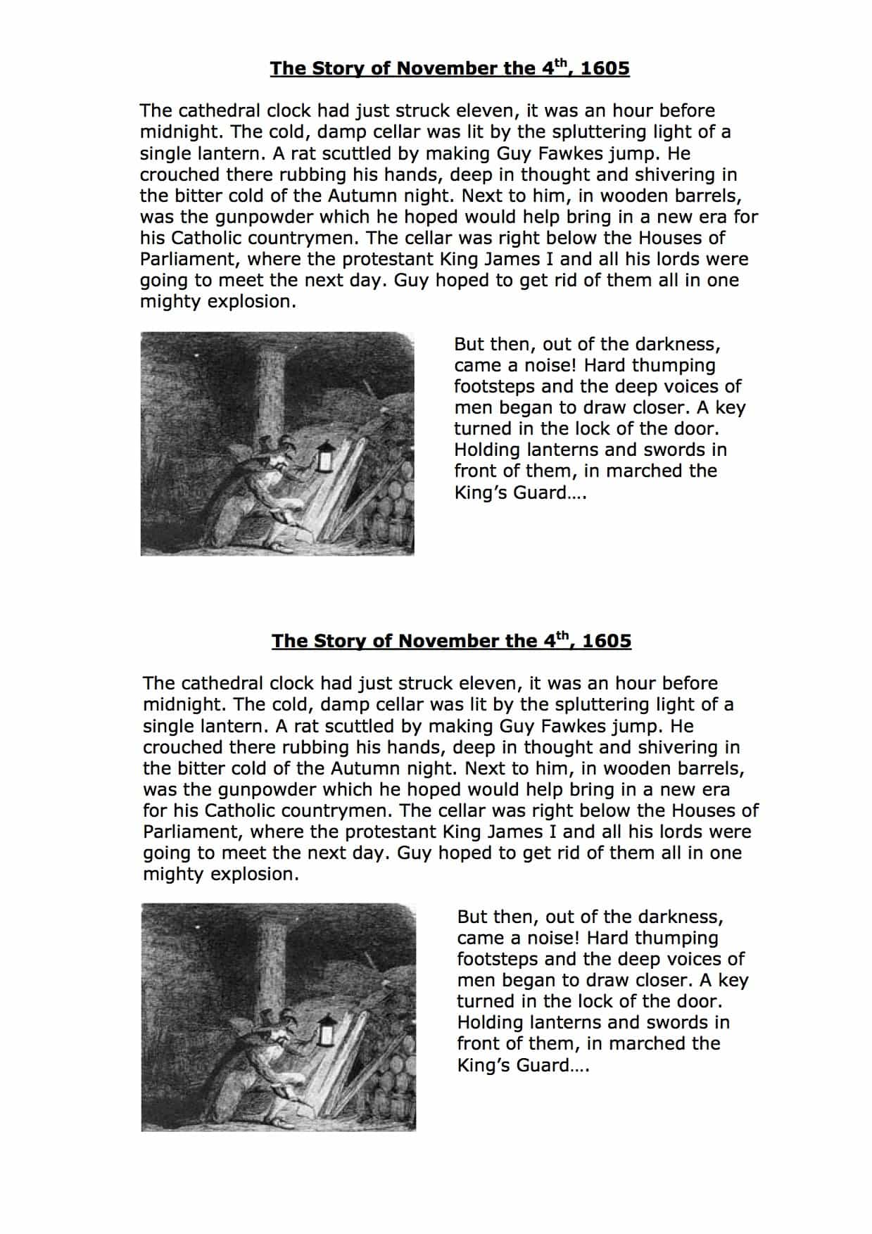 The Story Of Guy Fawkes On November 4th Worksheet