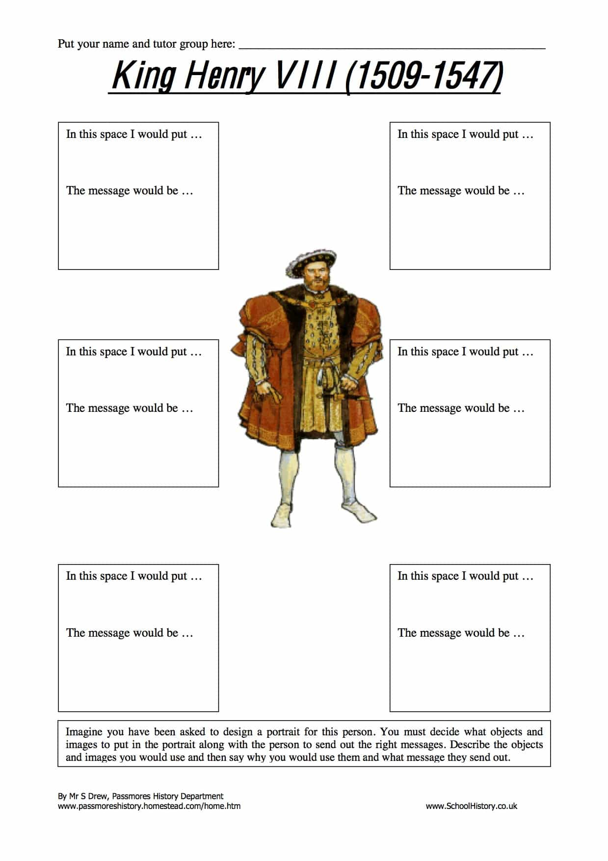 King Henry Viii Worksheet