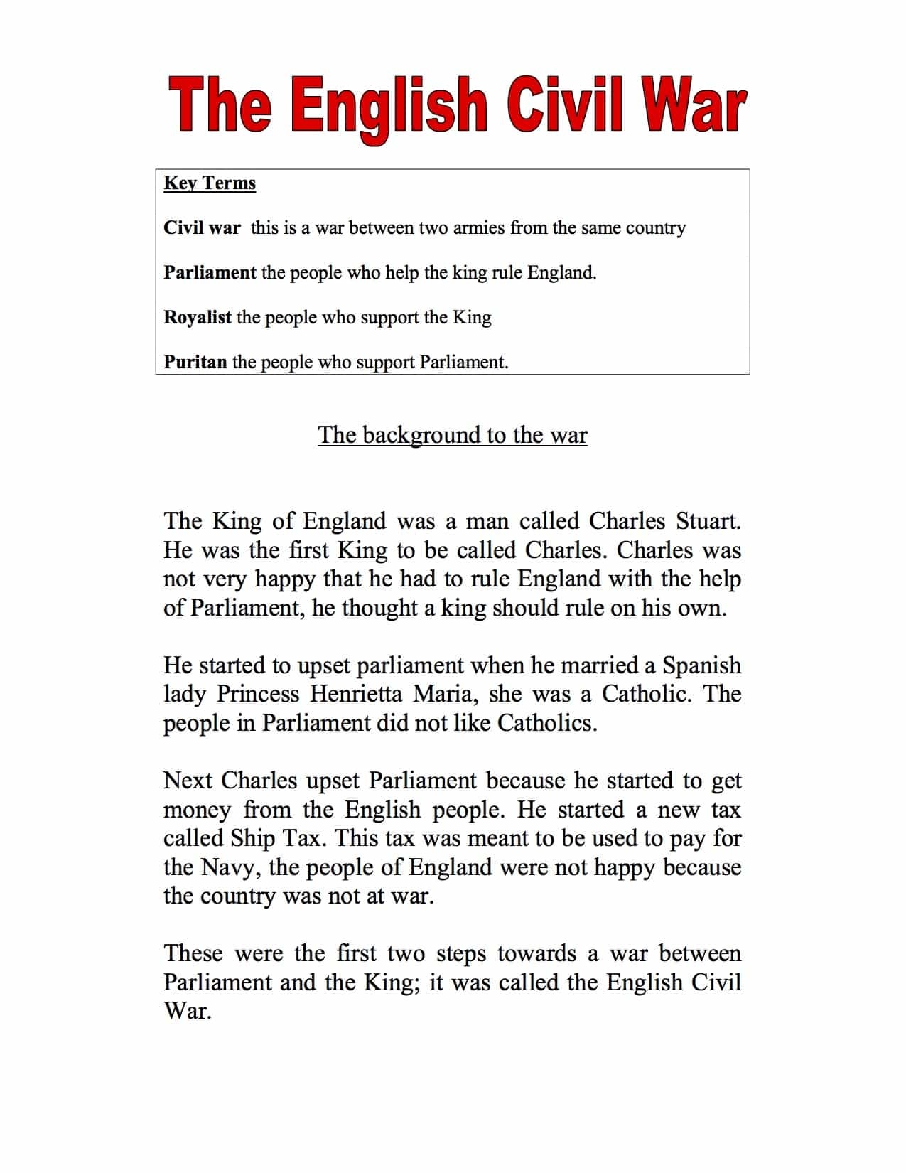 Introduction To The English Civil War Sen Pupils Worksheet