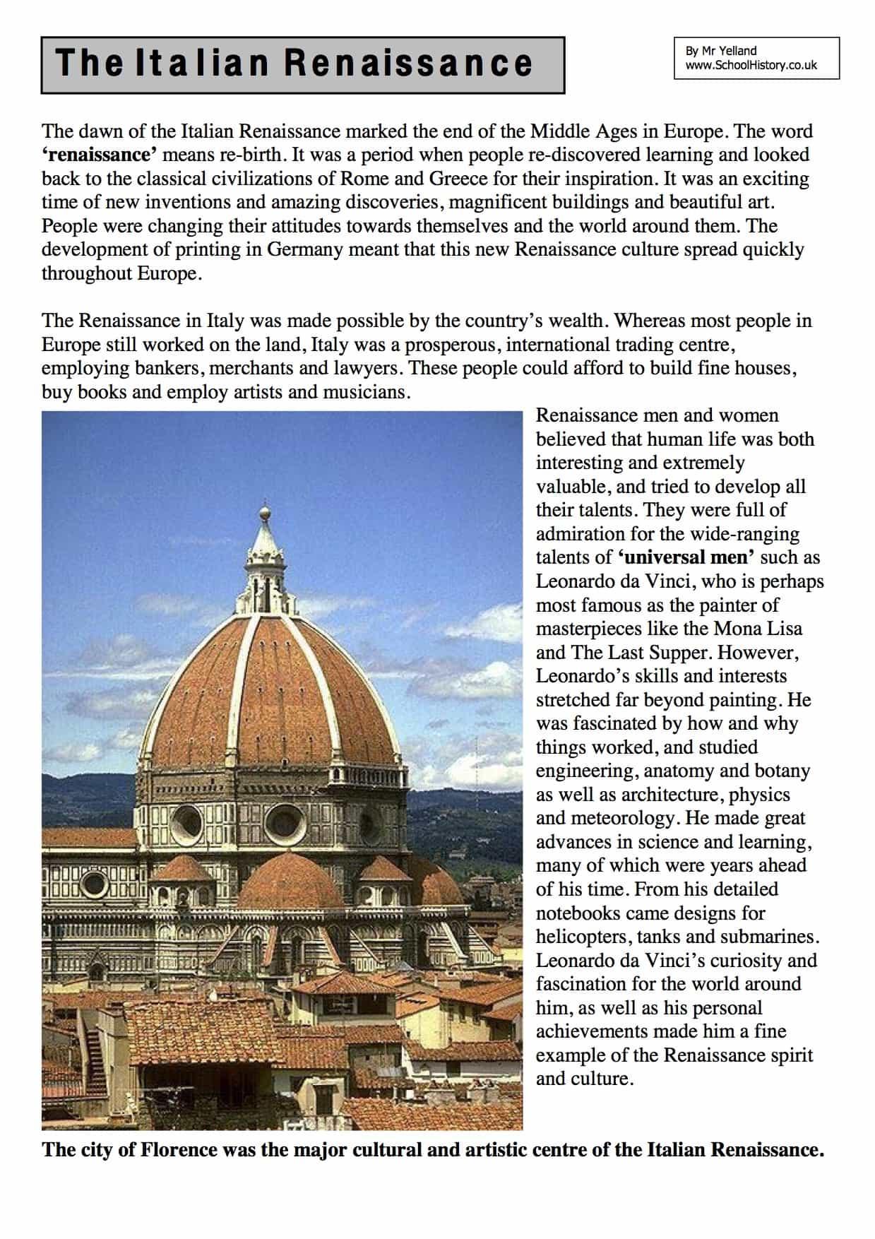 The Italian Renaissance Facts Information Free PDF