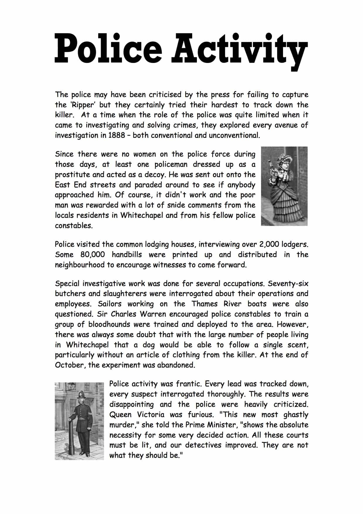 Jack The Ripper Police Activity Worksheet