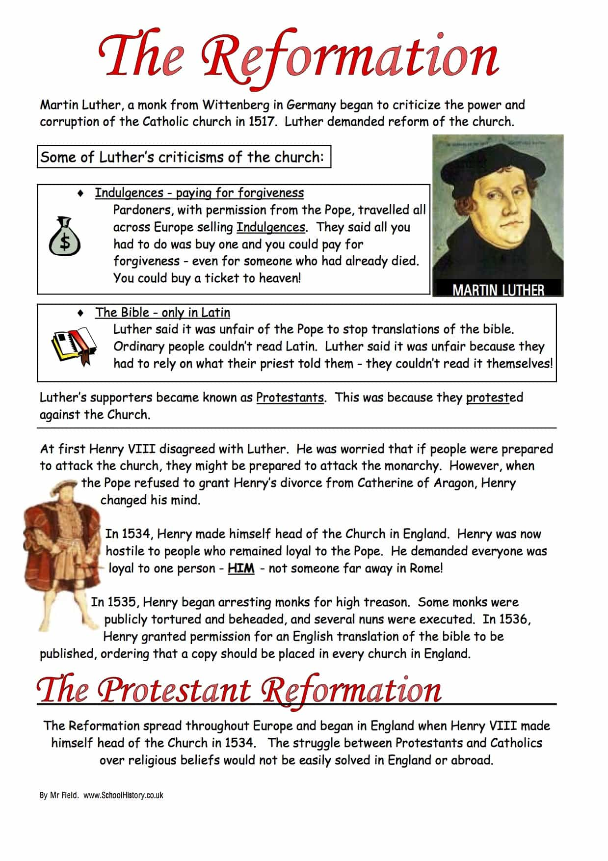 The Protestant Reformation Worksheet