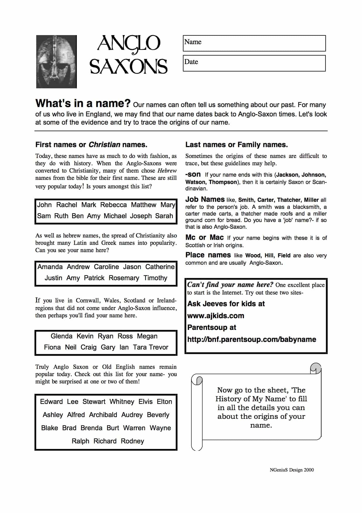 The Anglo Saxons Origins Amp Past Free Worksheet