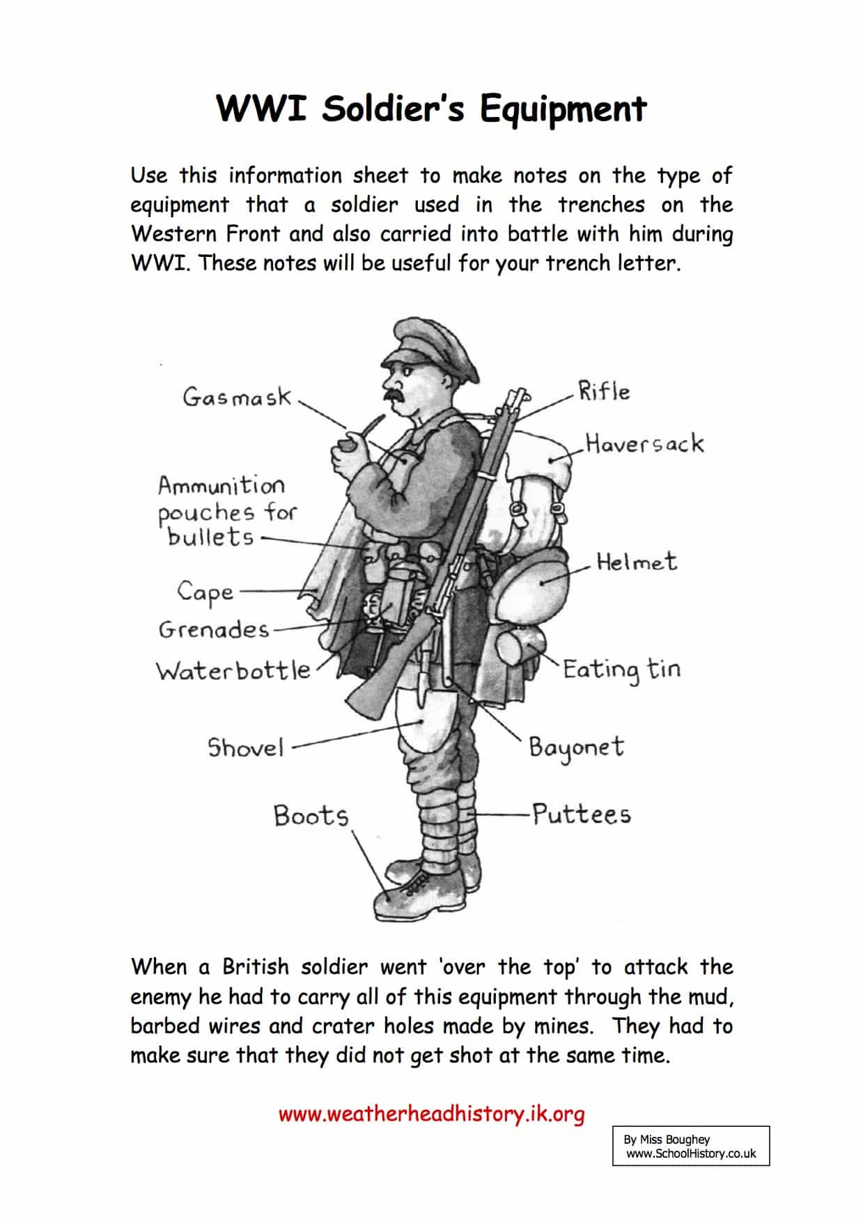 A WW1 Soldier's Equipment Facts & Information Worksheet