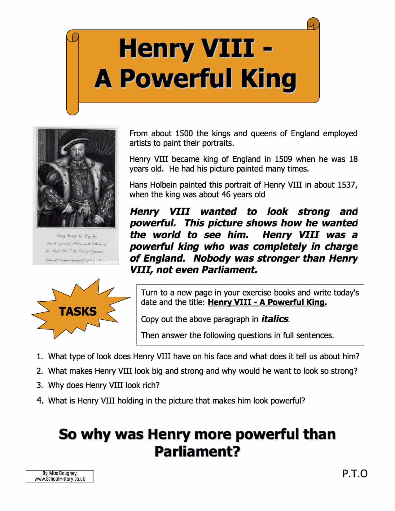 Henry Viii The Power Of The King Worksheet