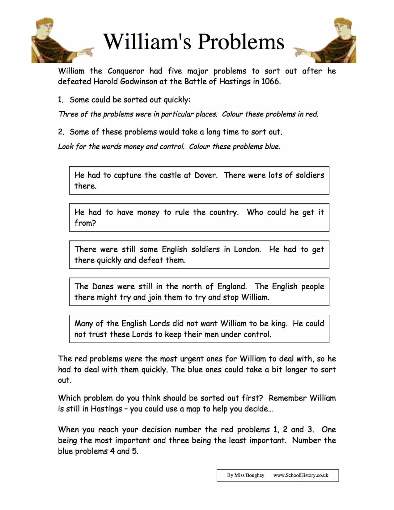 King William S Problems Worksheet