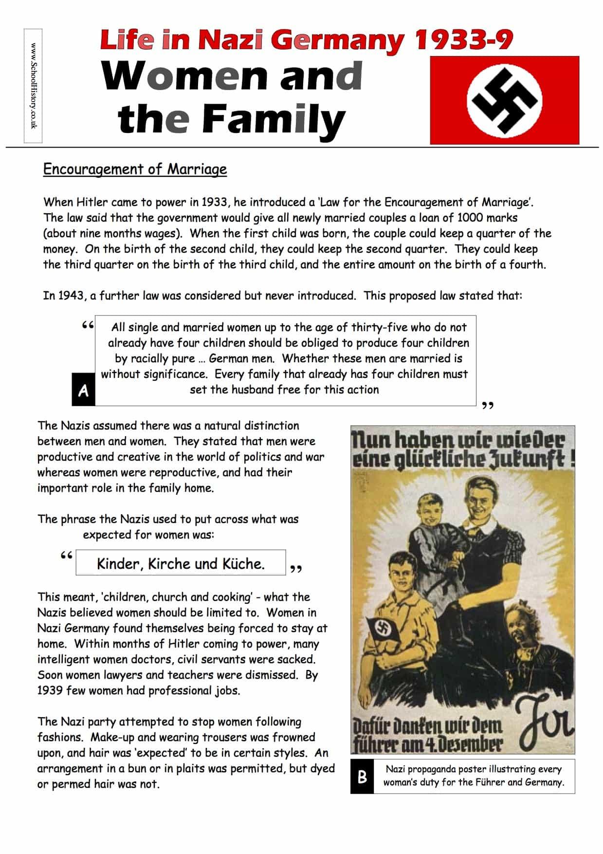 Women In Nazi Germany Worksheet