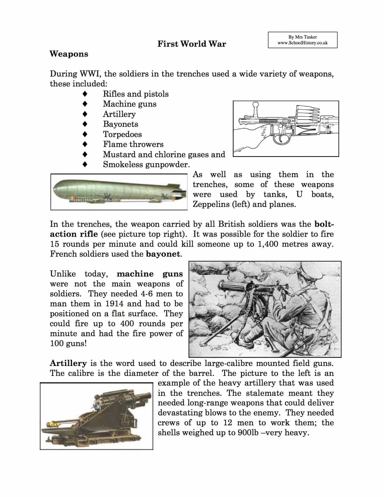 Weapons Used in World War I Facts & Information Worksheet