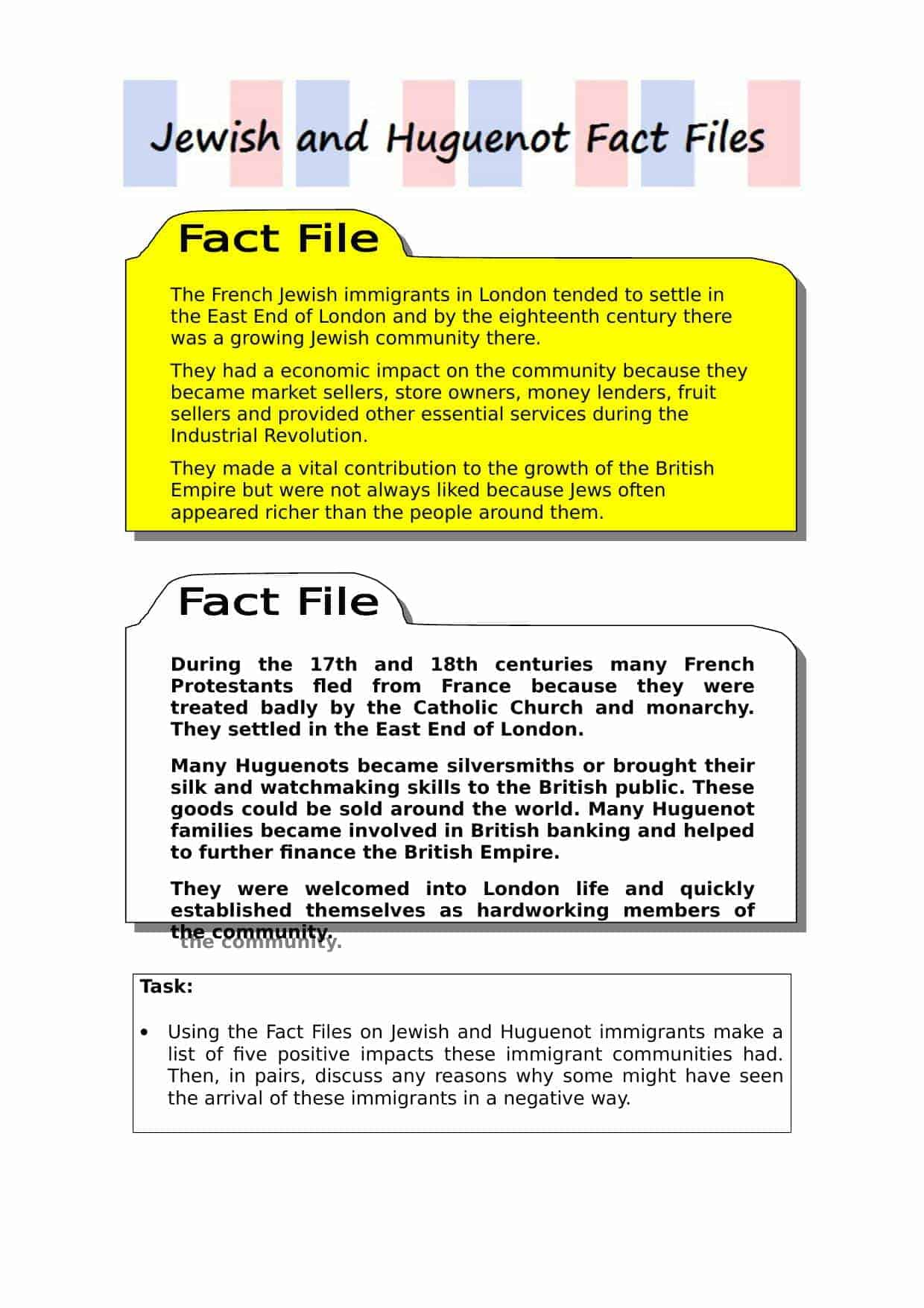 Jewish And Huguenot Fact Files