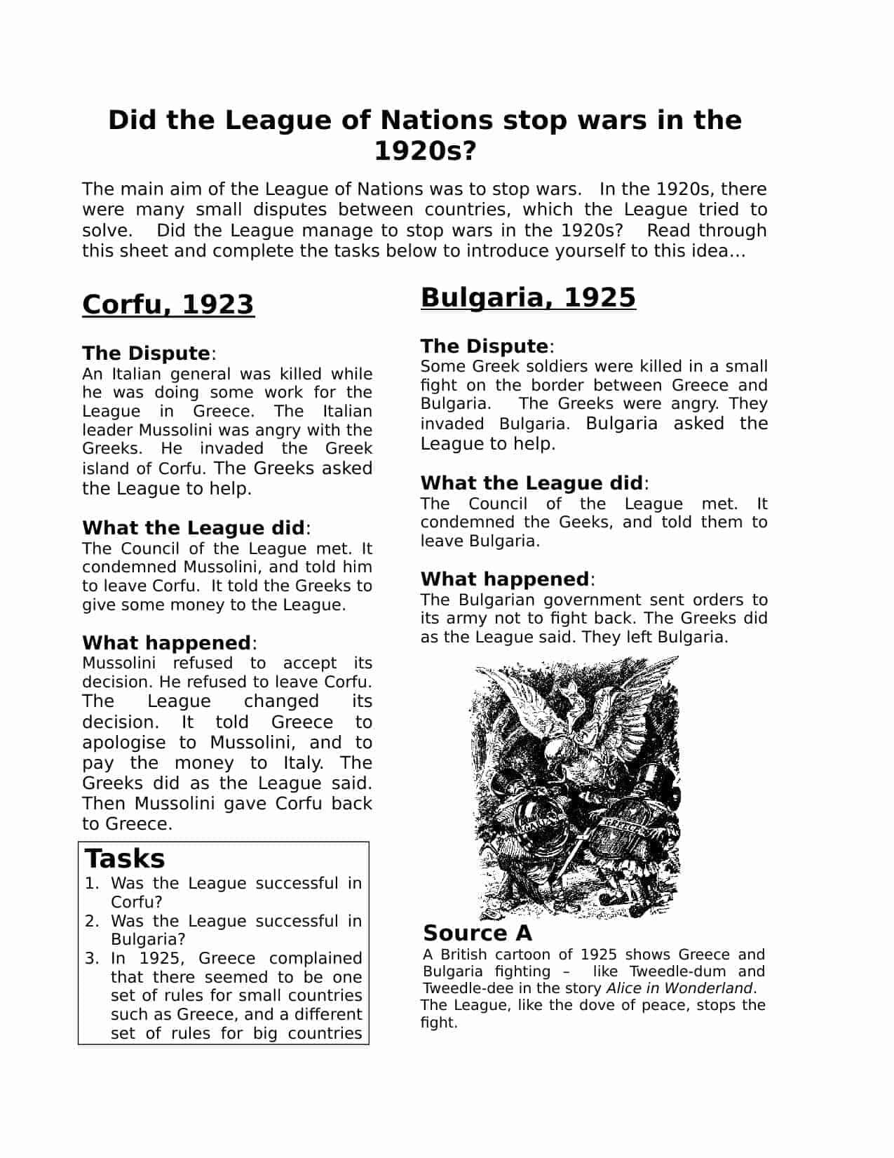 League Of Nations Homework Worksheet