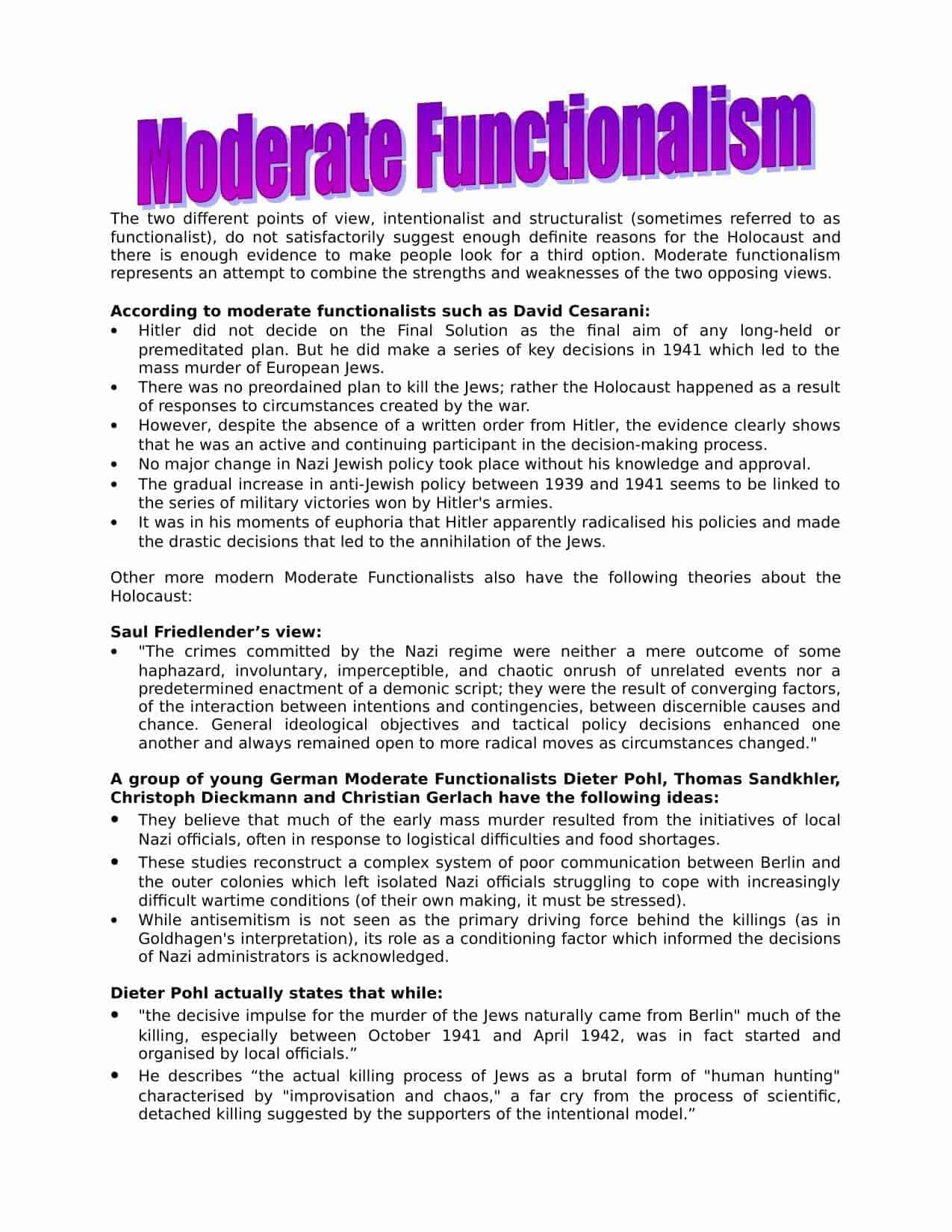 Moderate Functionalism On Nazi Germany