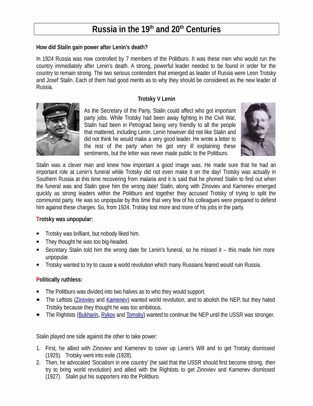 Stalin V Trotsky Facts Amp Information Worksheet