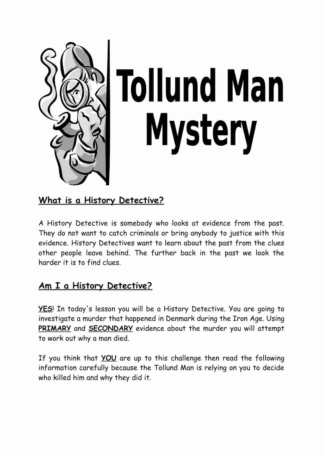 Tollund Man History Detective Worksheet