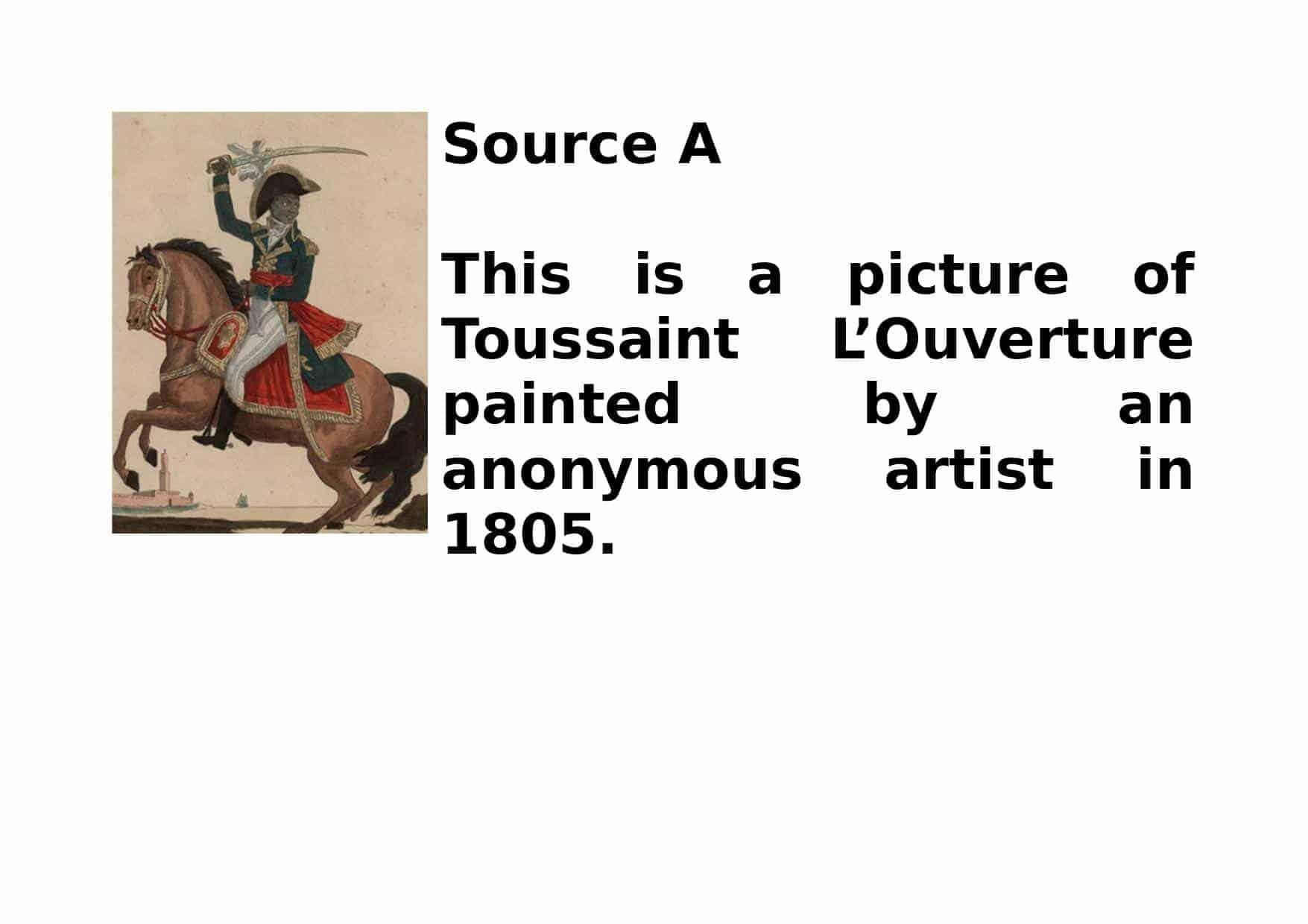 Toussaint L Ouverture Sources Worksheet