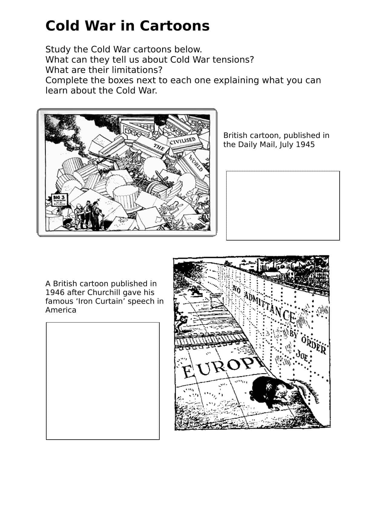 Cold War Comparisonysis Gcse Worksheet