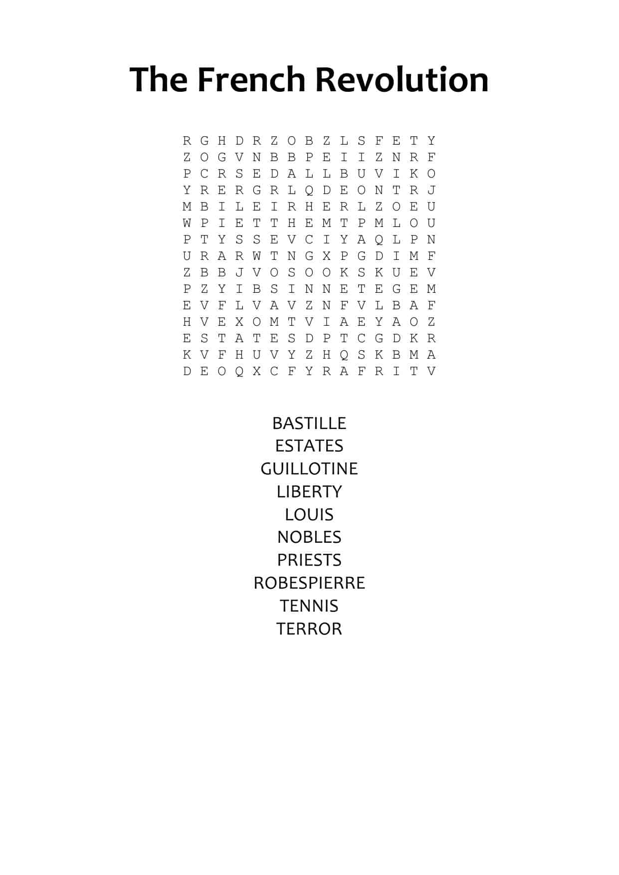French Revolution Ks3 Wordsearch
