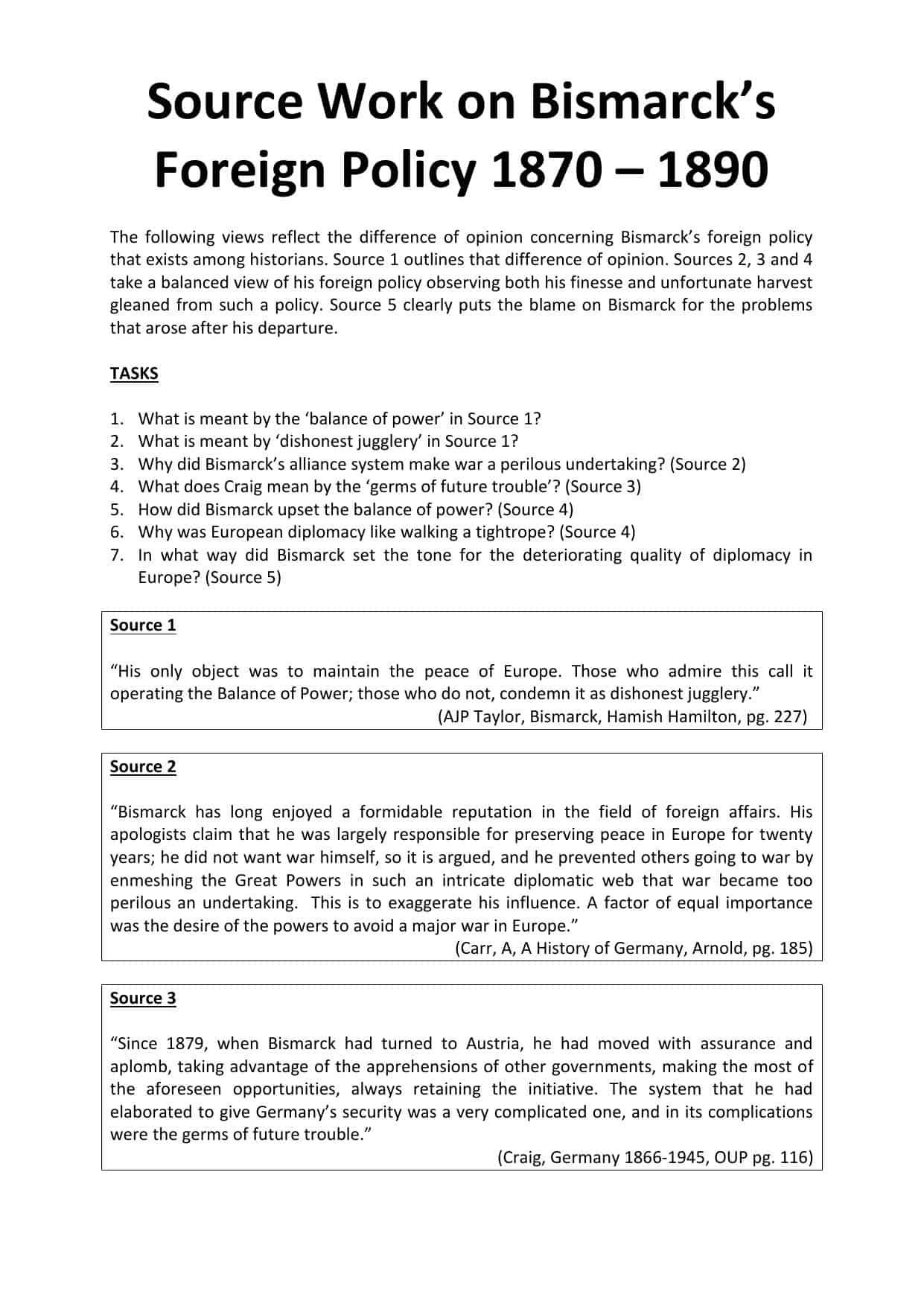 Historical Debate On Bismarck Sourceysis Worksheet
