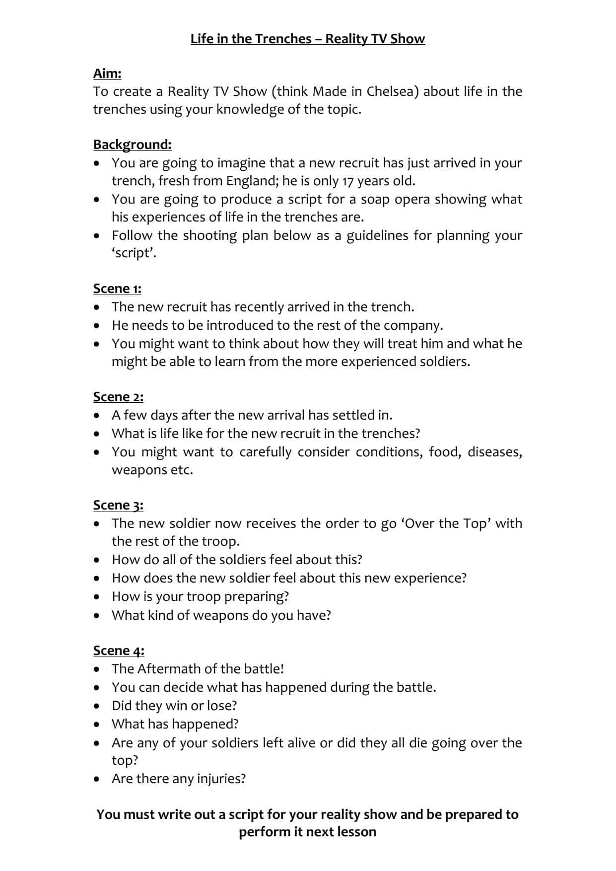 Life In The Trenches Worksheet