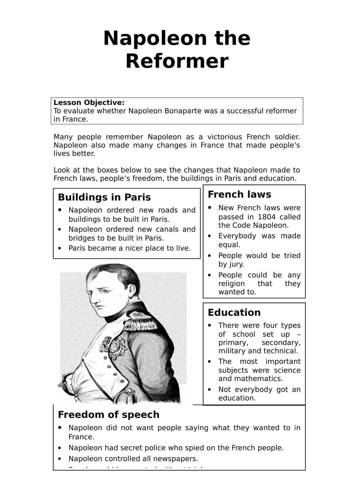 Napoleon The Reformer Worksheet