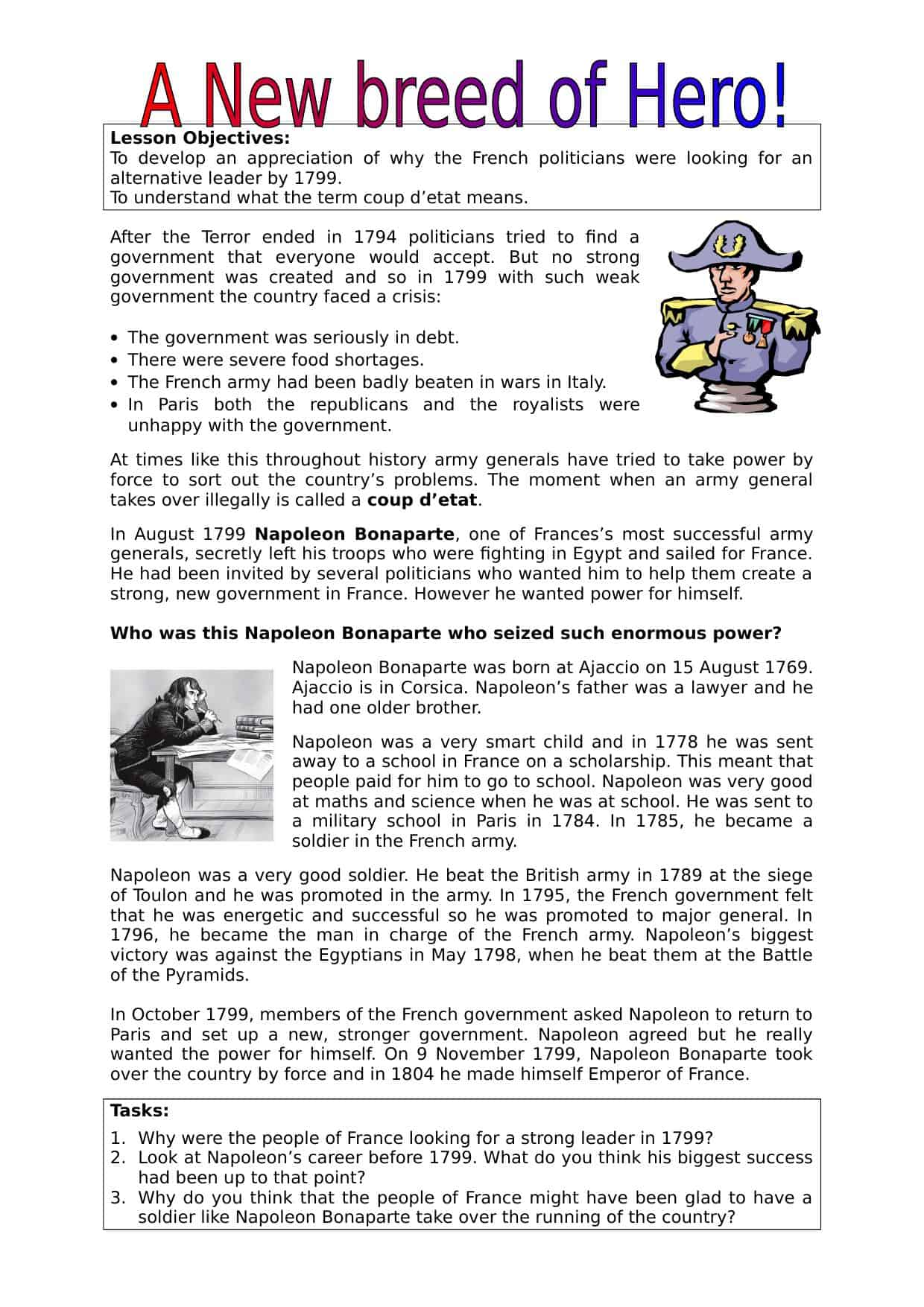 Napoleon S Rise To Power Worksheet