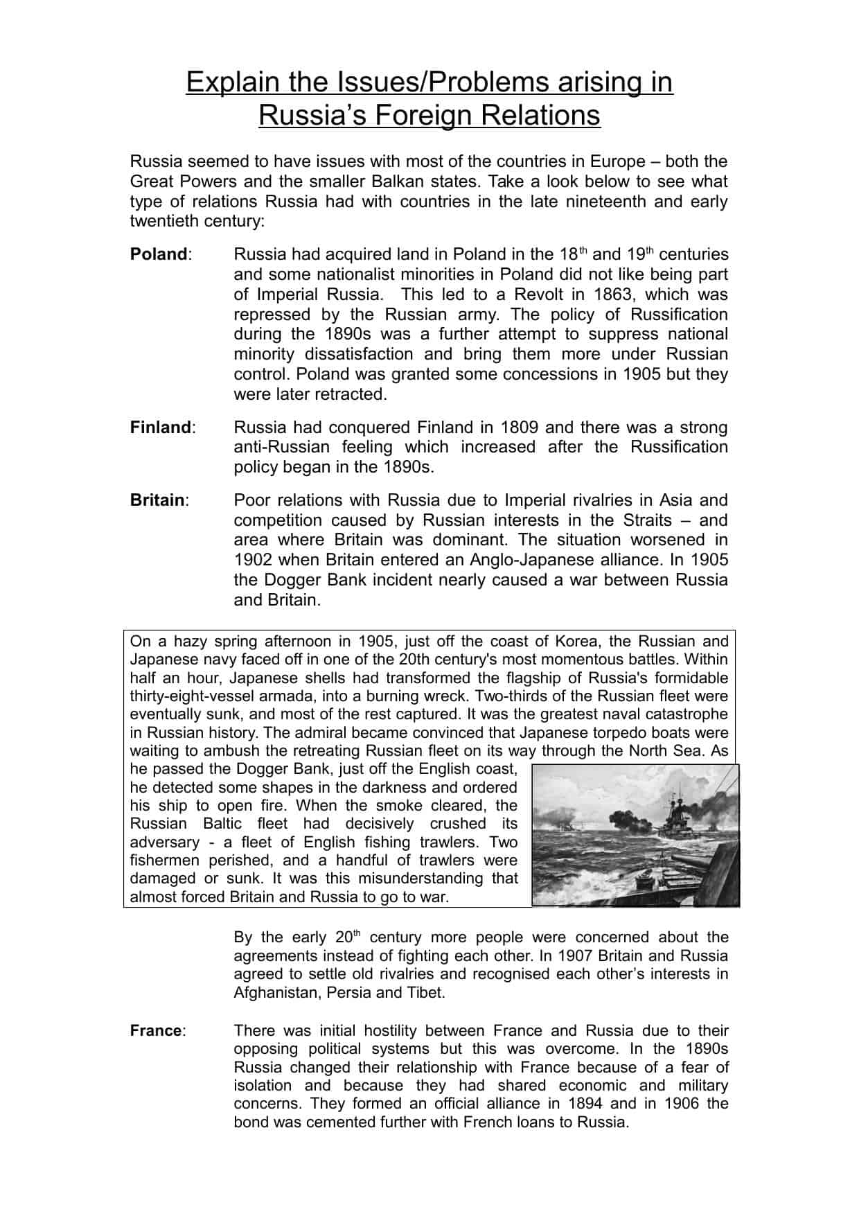 Russian Foreign Policy Overview Worksheet