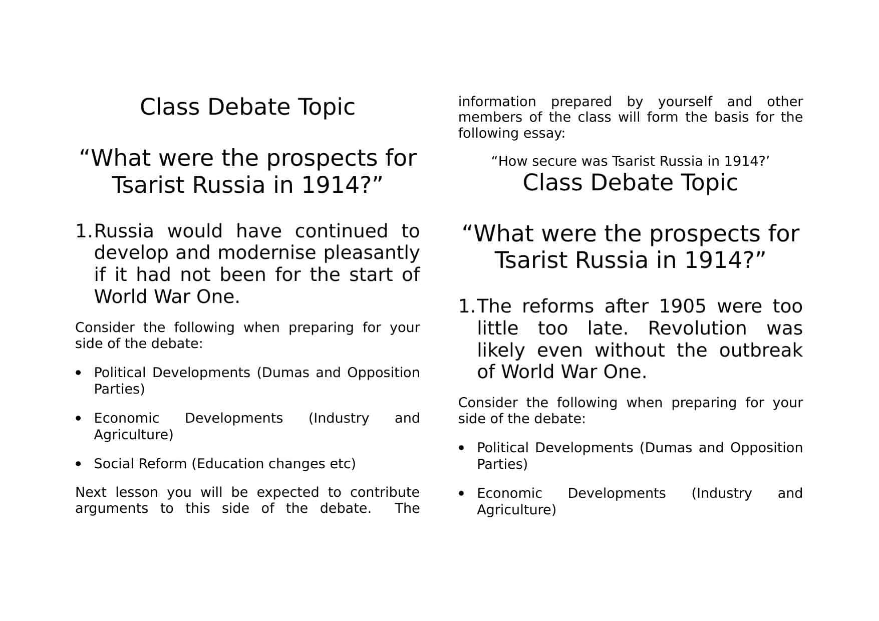 Tsarist Class Debate Worksheet