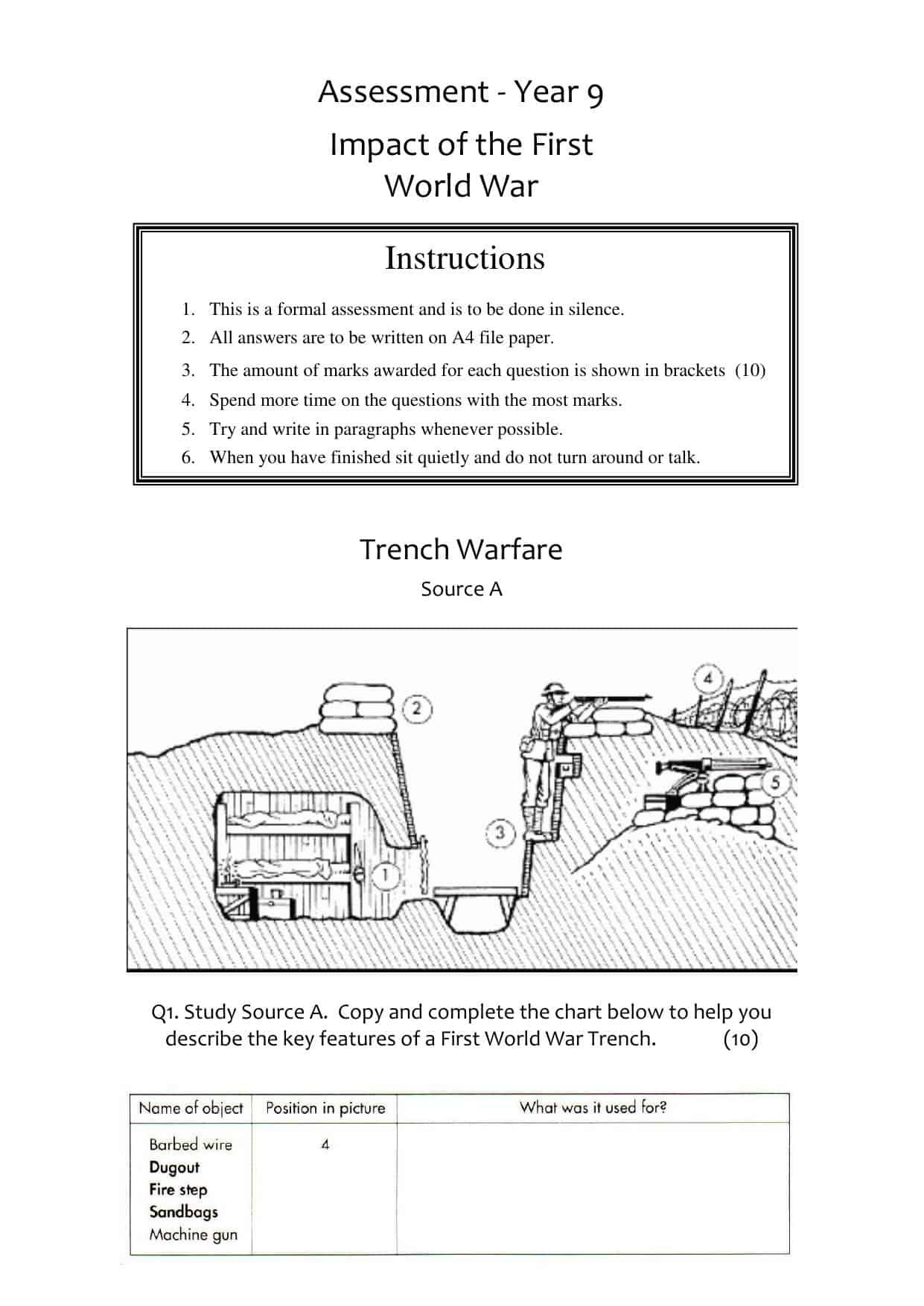 World War 1 Summary Worksheet