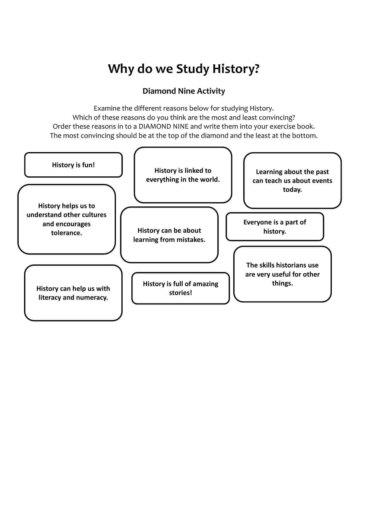 Why Do We Study History Activity Worksheet
