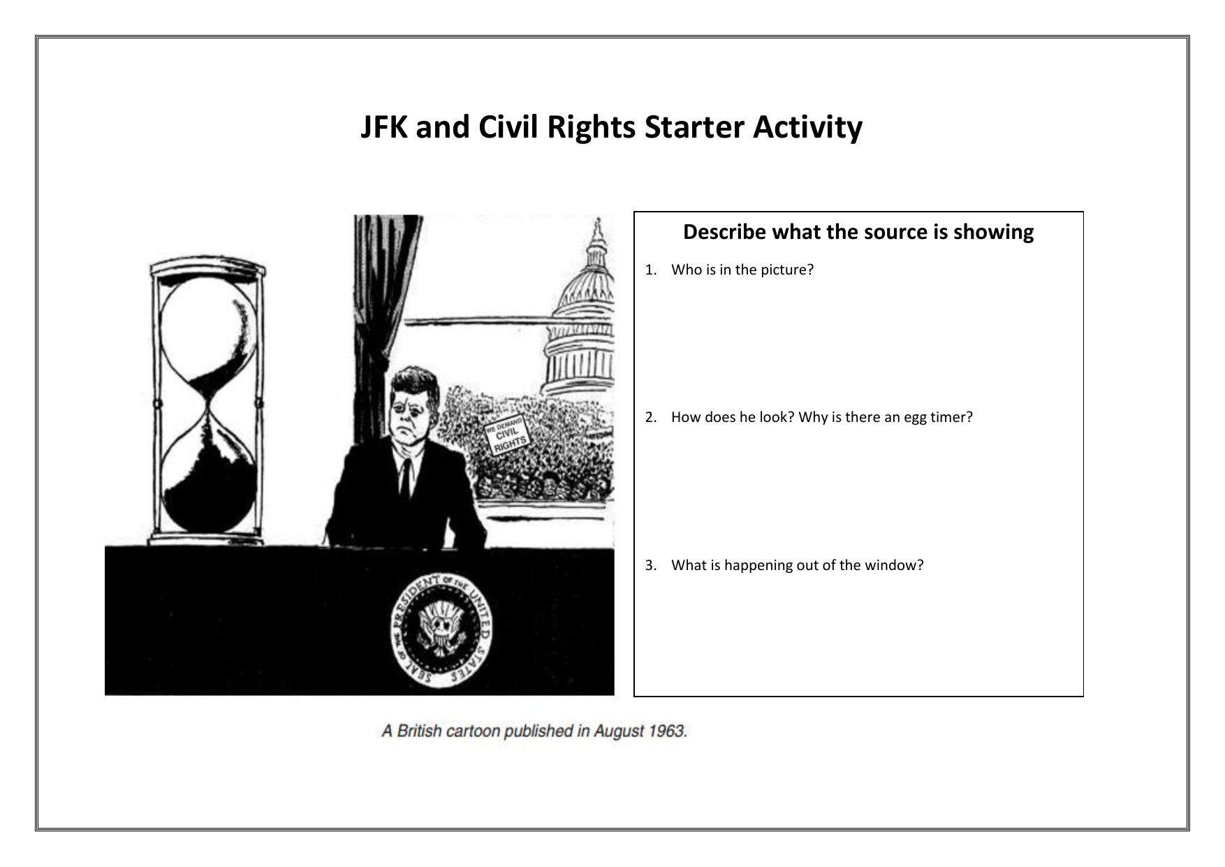 Jfk And Civil Rights Low Ability Starter Activity Worksheet