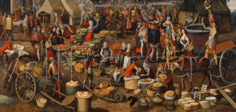 market aertsen pieter scene medieval capitalismo comercial absolutismo drink marktszene protezionismo ages middle commons europa economico wikimedia 1550 facts marketing