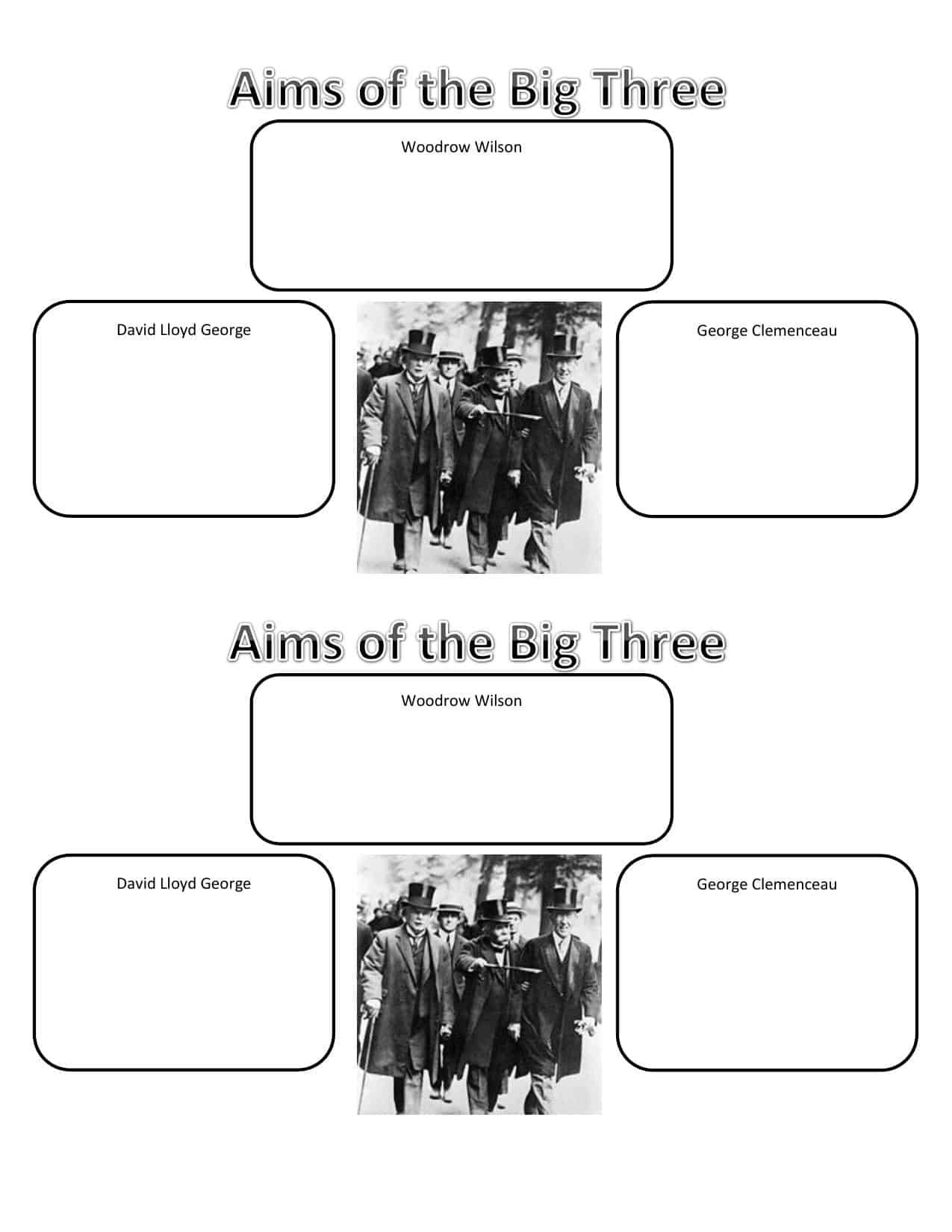 Aims Of The Big Three At Versailles Worksheet