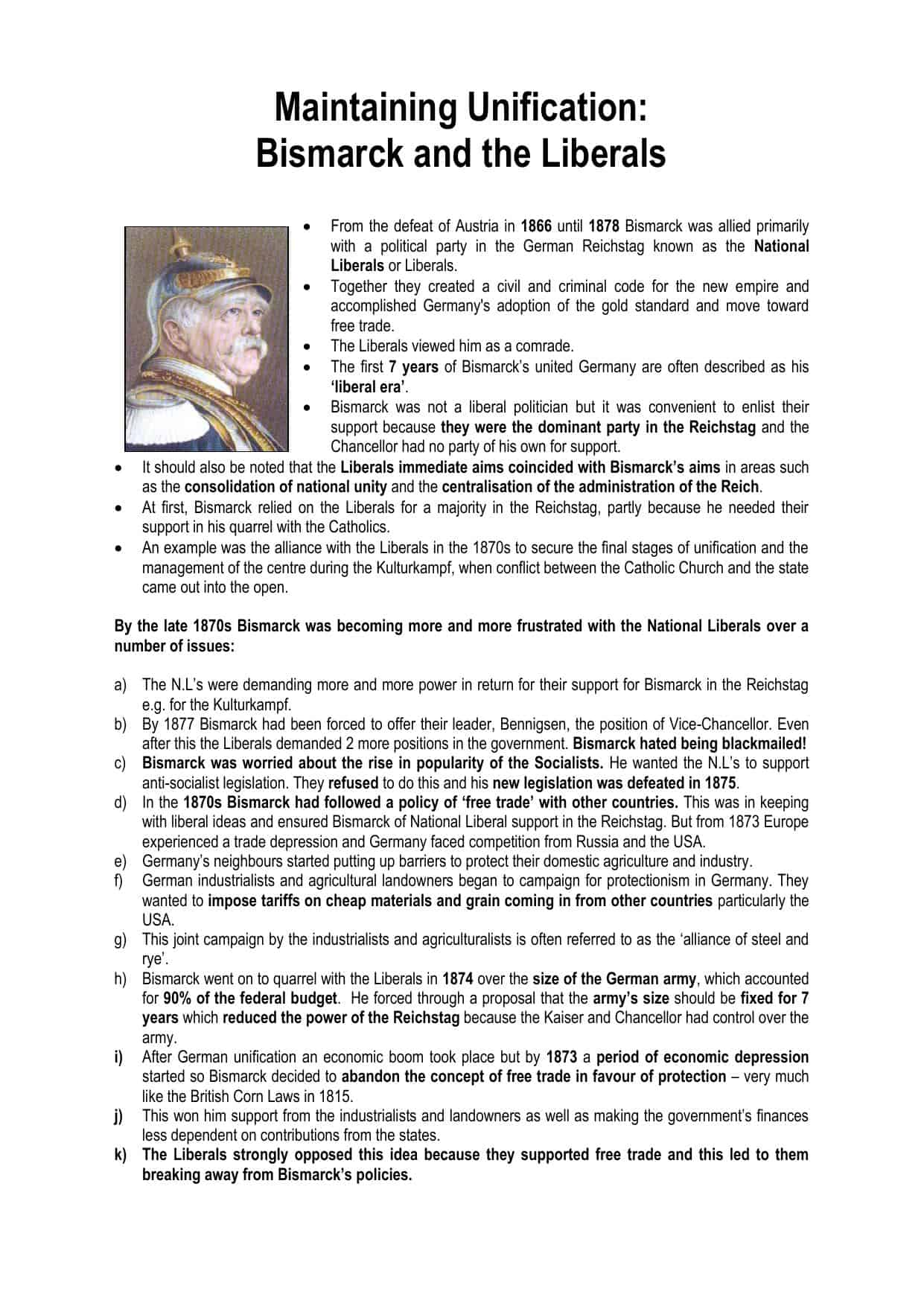Bismarck And The Liberals A Level Worksheet