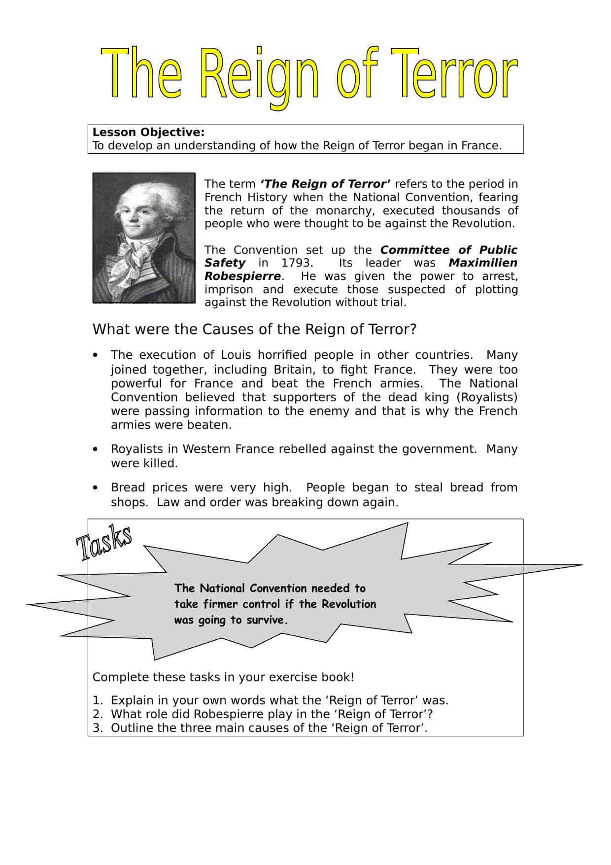 Causes Of The Reign Of Terror Worksheet