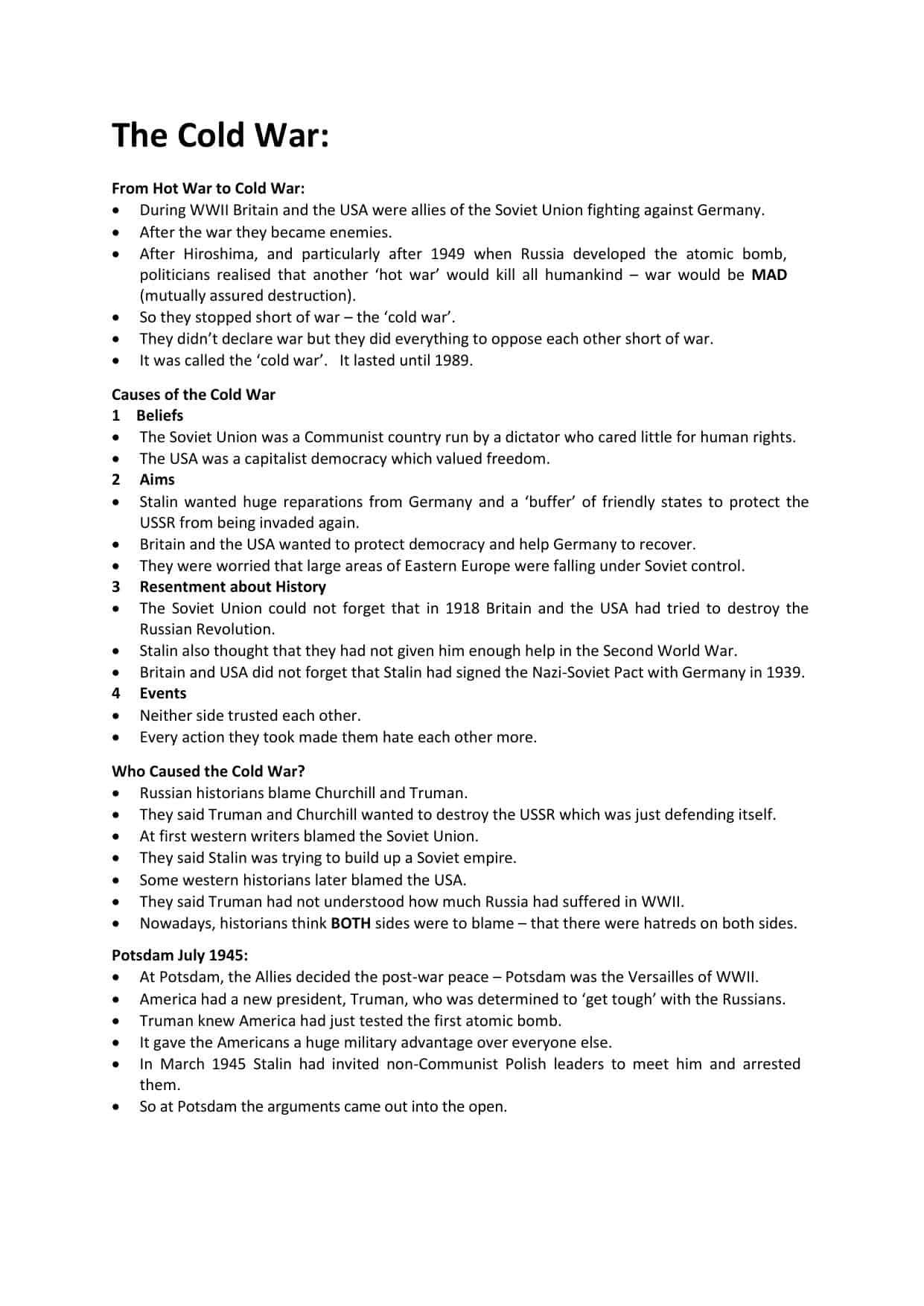 Cold War Igcse Revision Notes