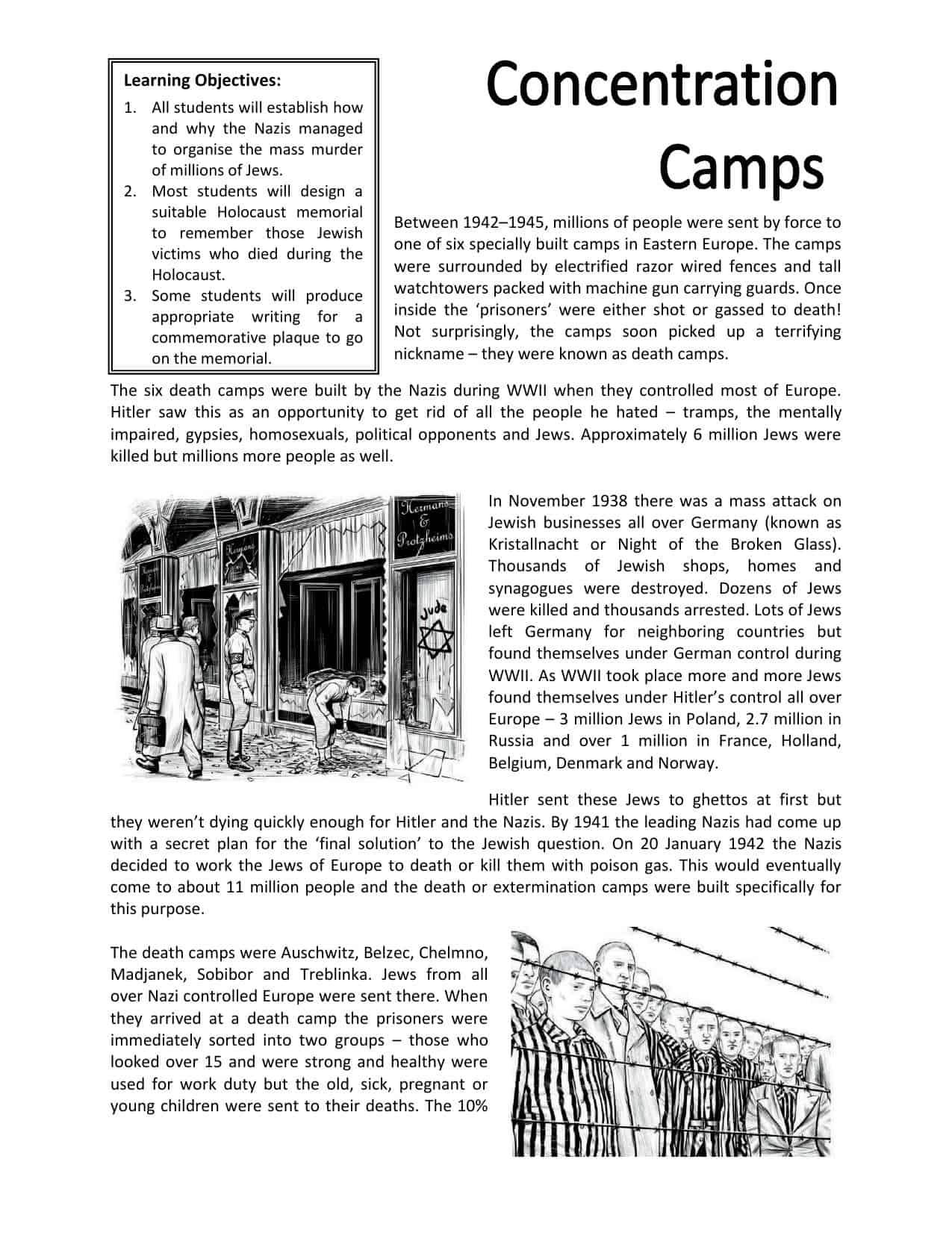 The Holocaust Worksheets