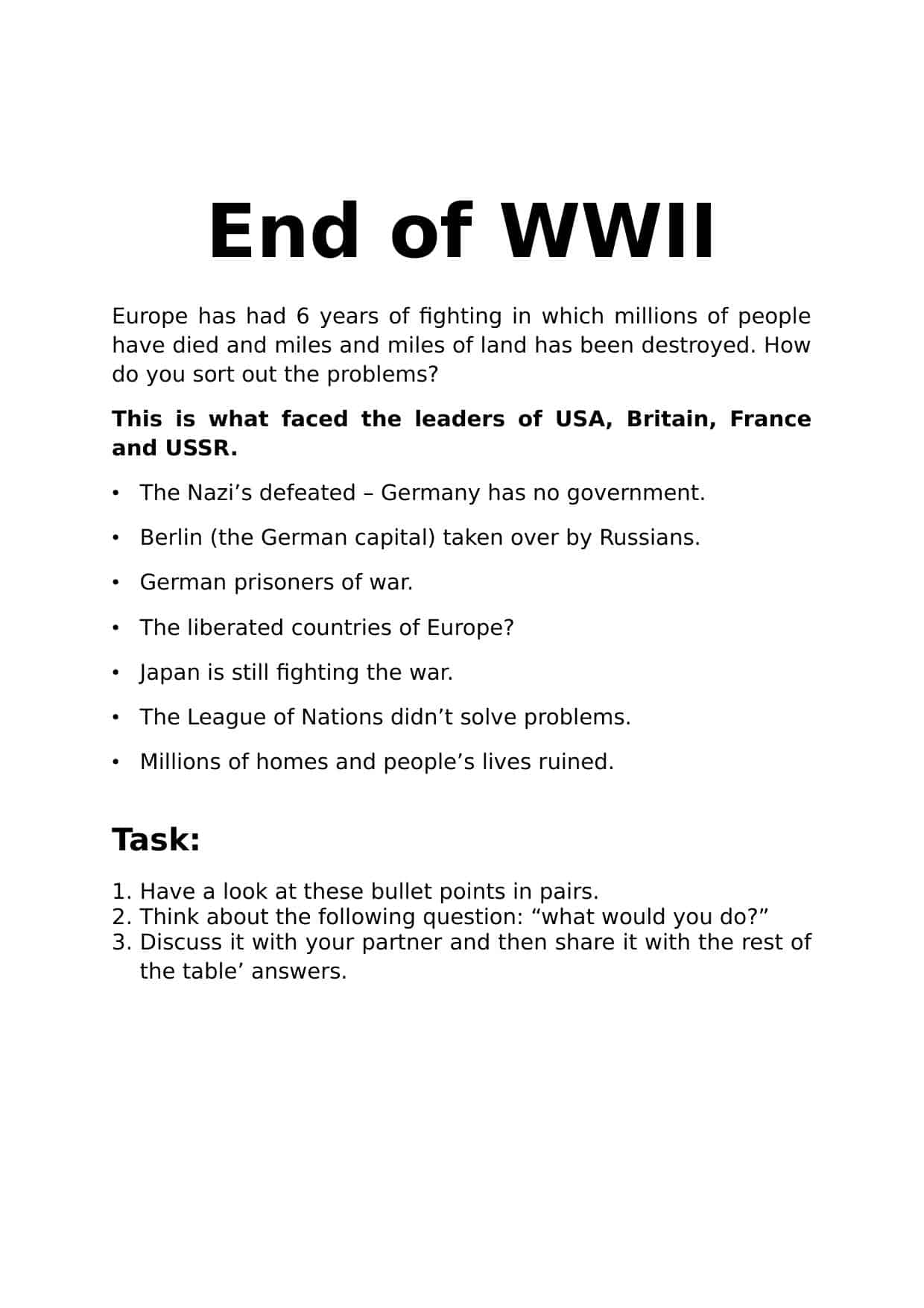 World War 2 Ww2 Worksheets