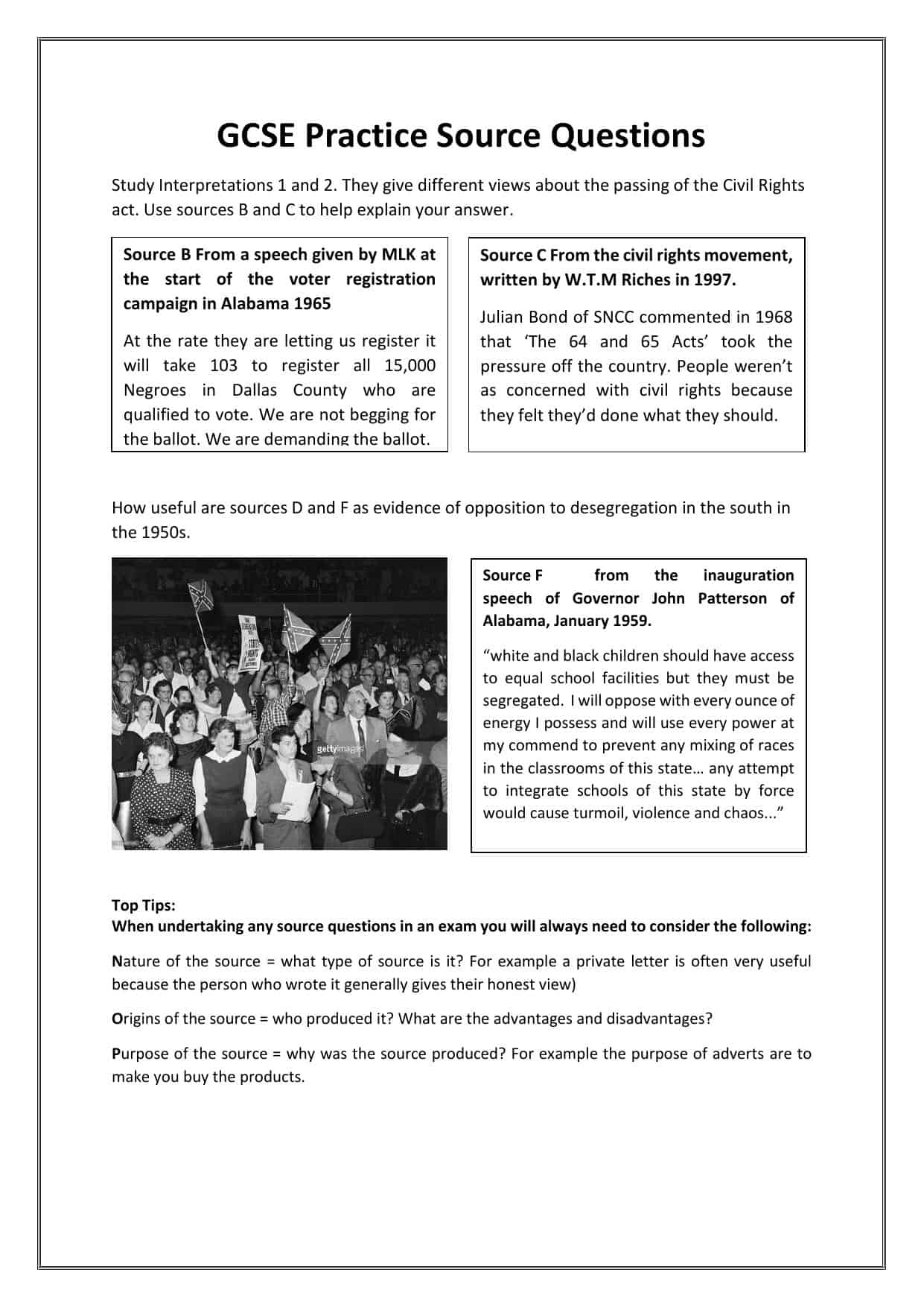 Gcse Practice Civil Rights Source Questions