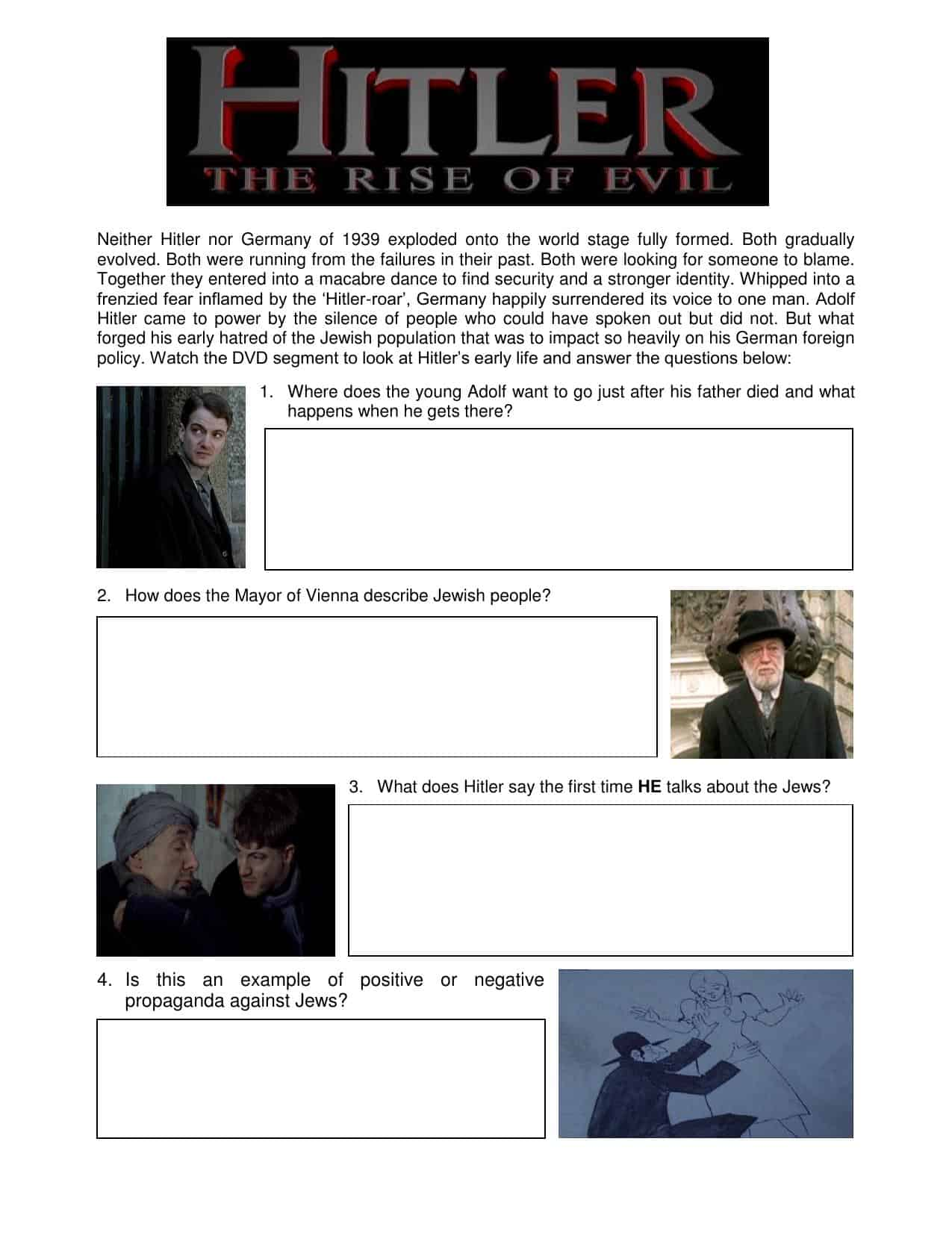 Hitler S Early Life Based On Dvd Rise Of Hitler Worksheet