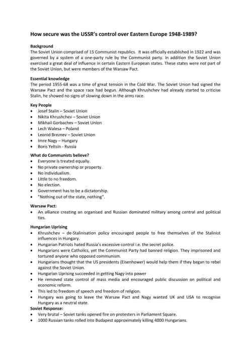 small resolution of The Cold War Worksheets   KS3 \u0026 KS4 Lesson Plans \u0026 Resources