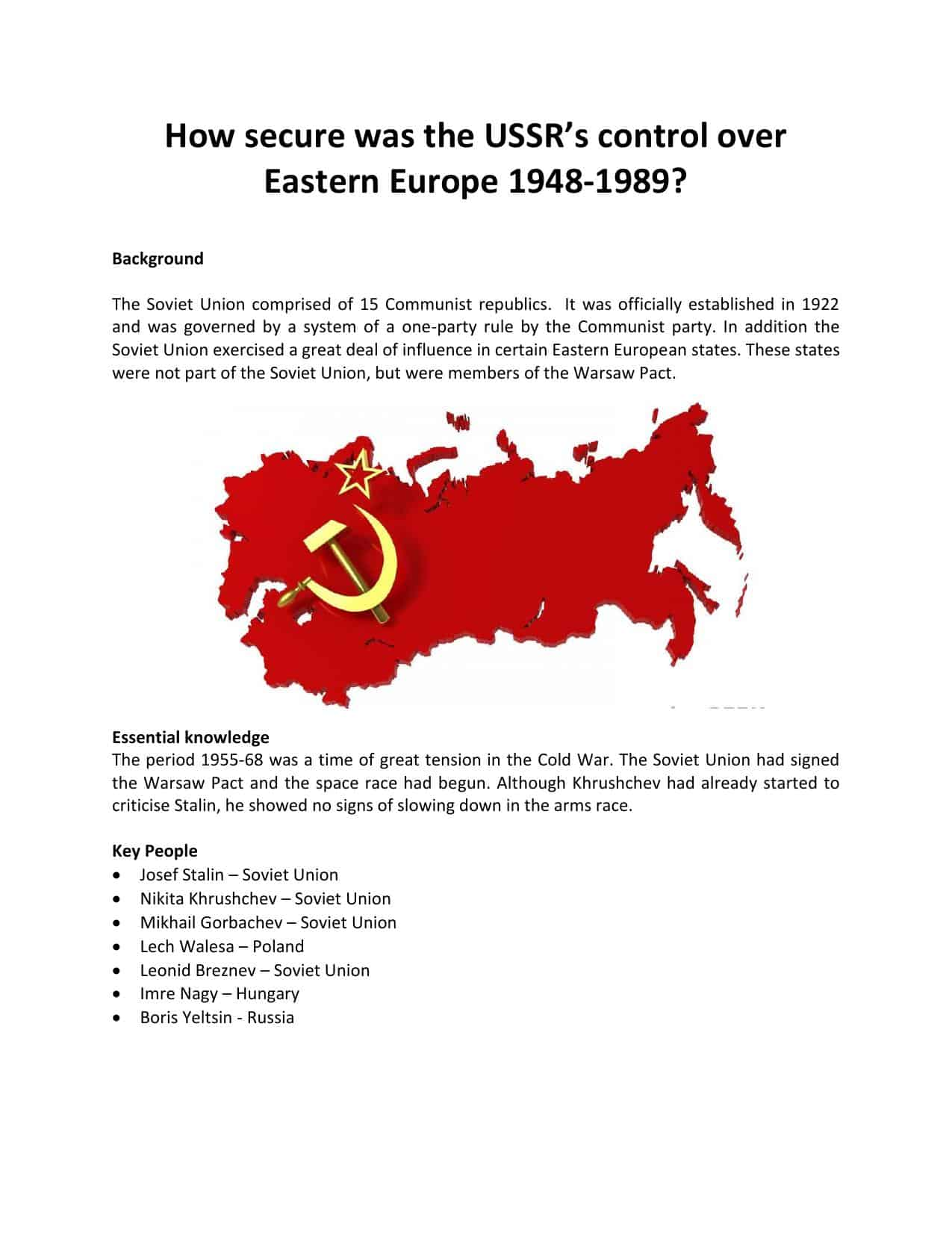 How Secure Was The Ussr Worksheet