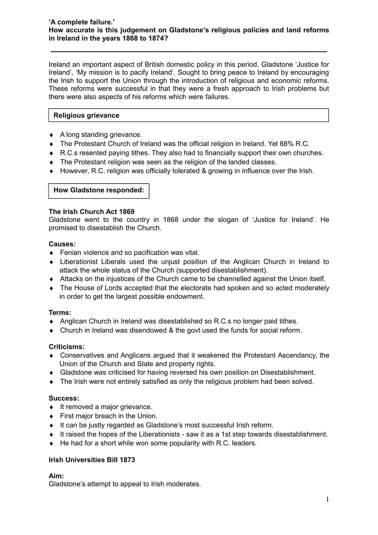 Ireland A Level Revision Worksheet